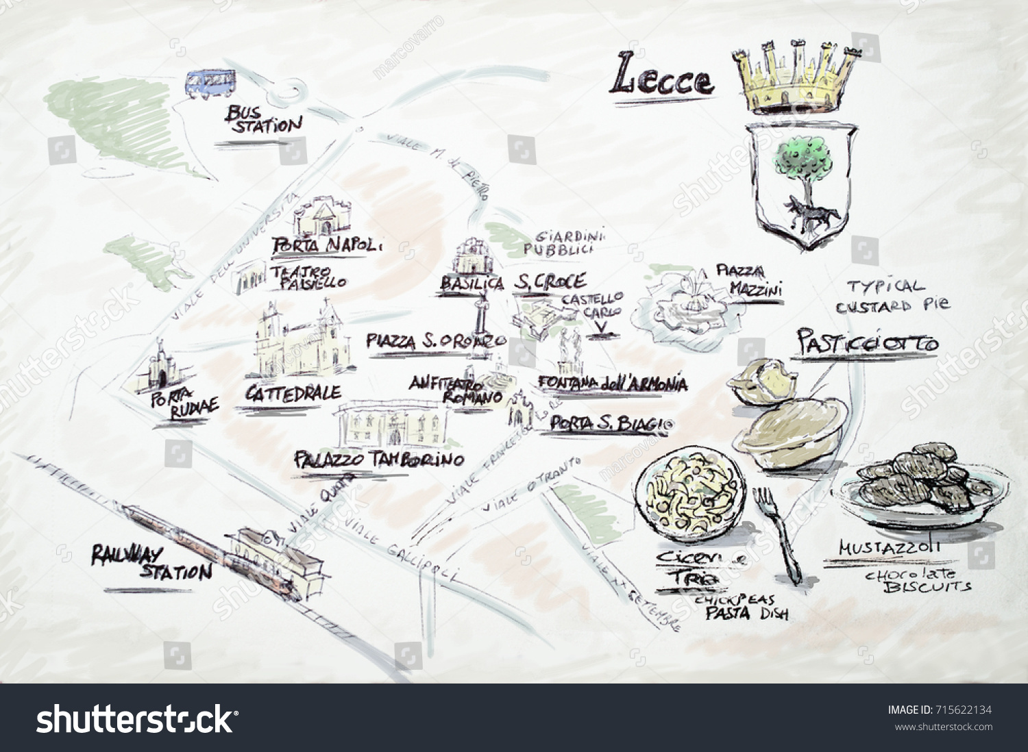 Sketch Illustration Map Lecce Town Italy Stock Illustration