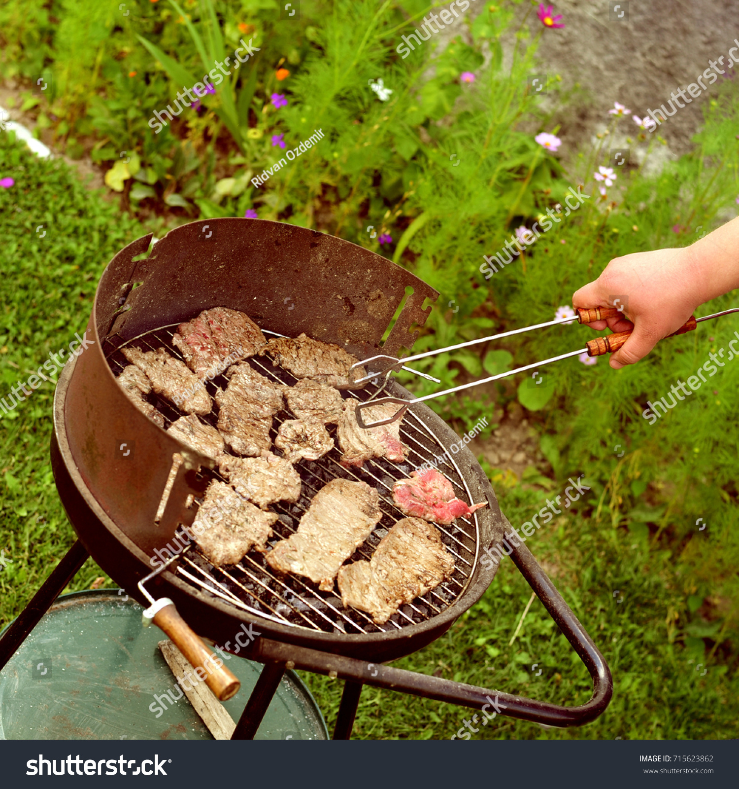 Beef Steak On Barbecue Grill Garden Stock Photo (Download Now ...