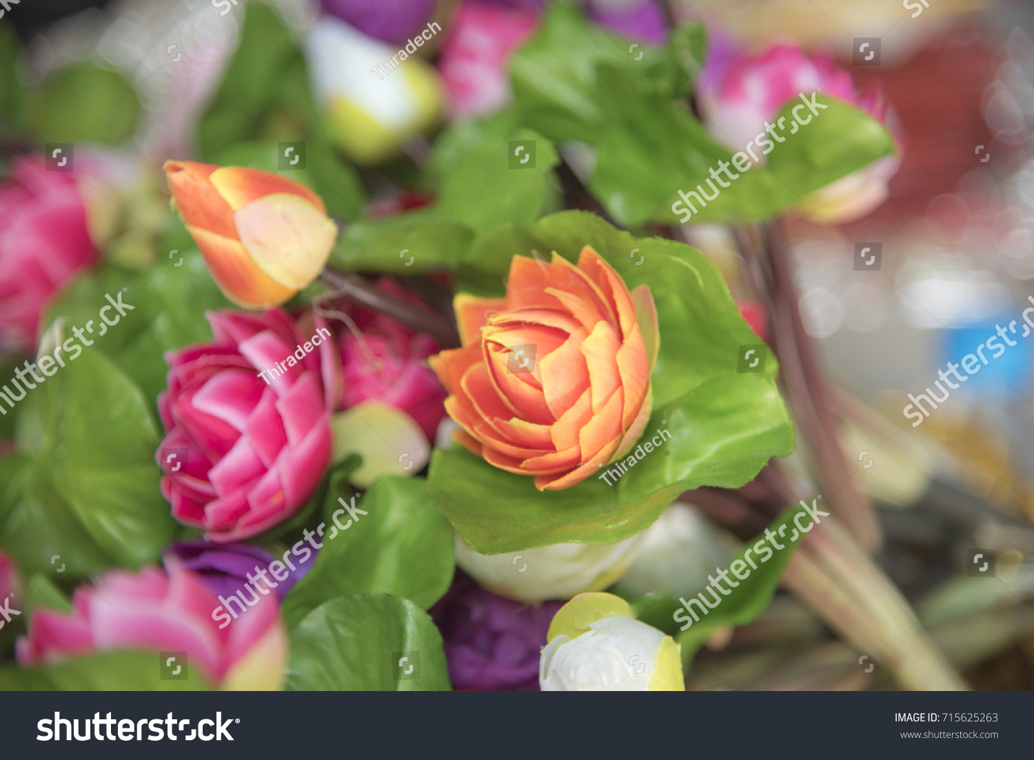 Artificial Lotus Flower Many Colors On Stock Photo Royalty Free