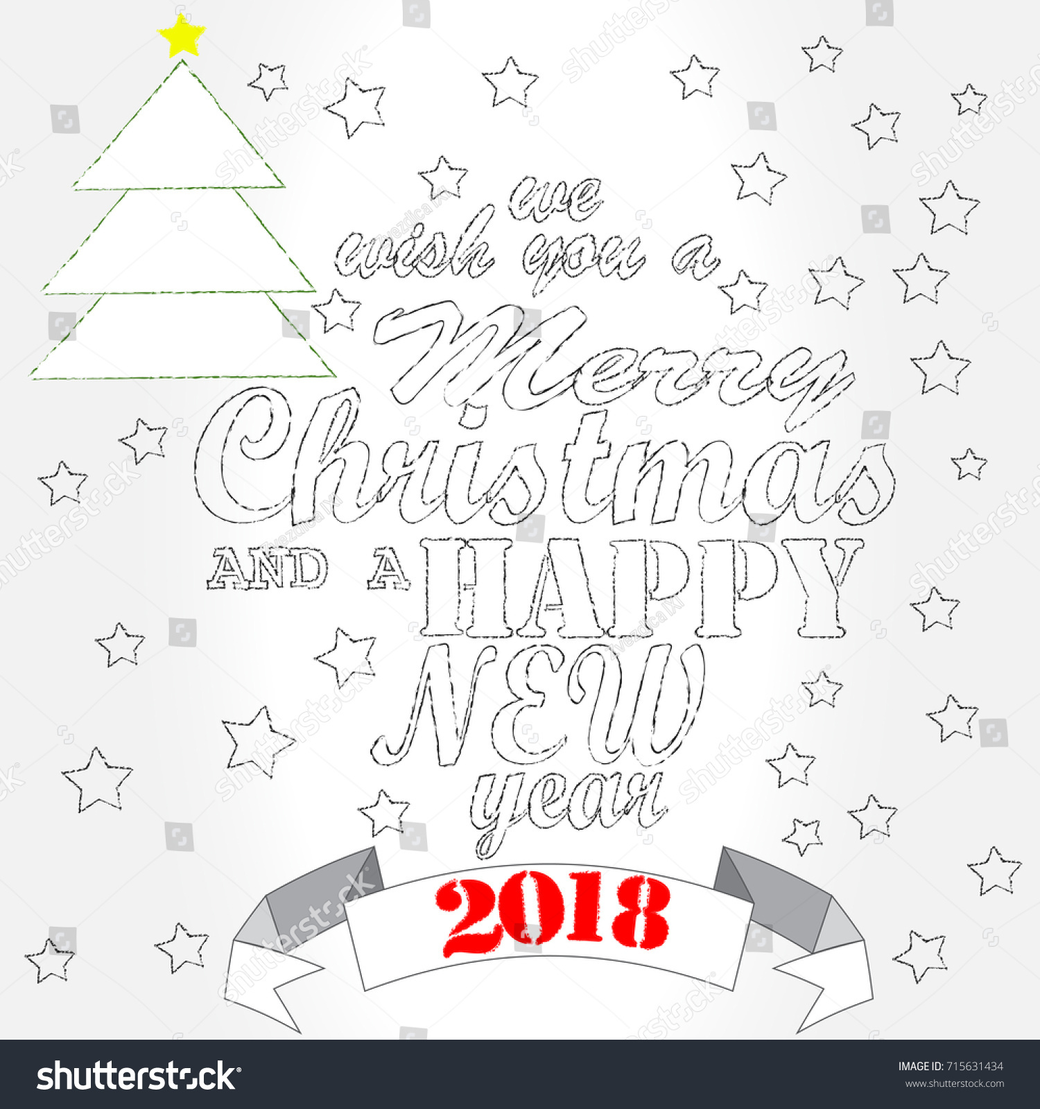 Merry Christmas Happy New Year Christmas Stock Vector 715631434