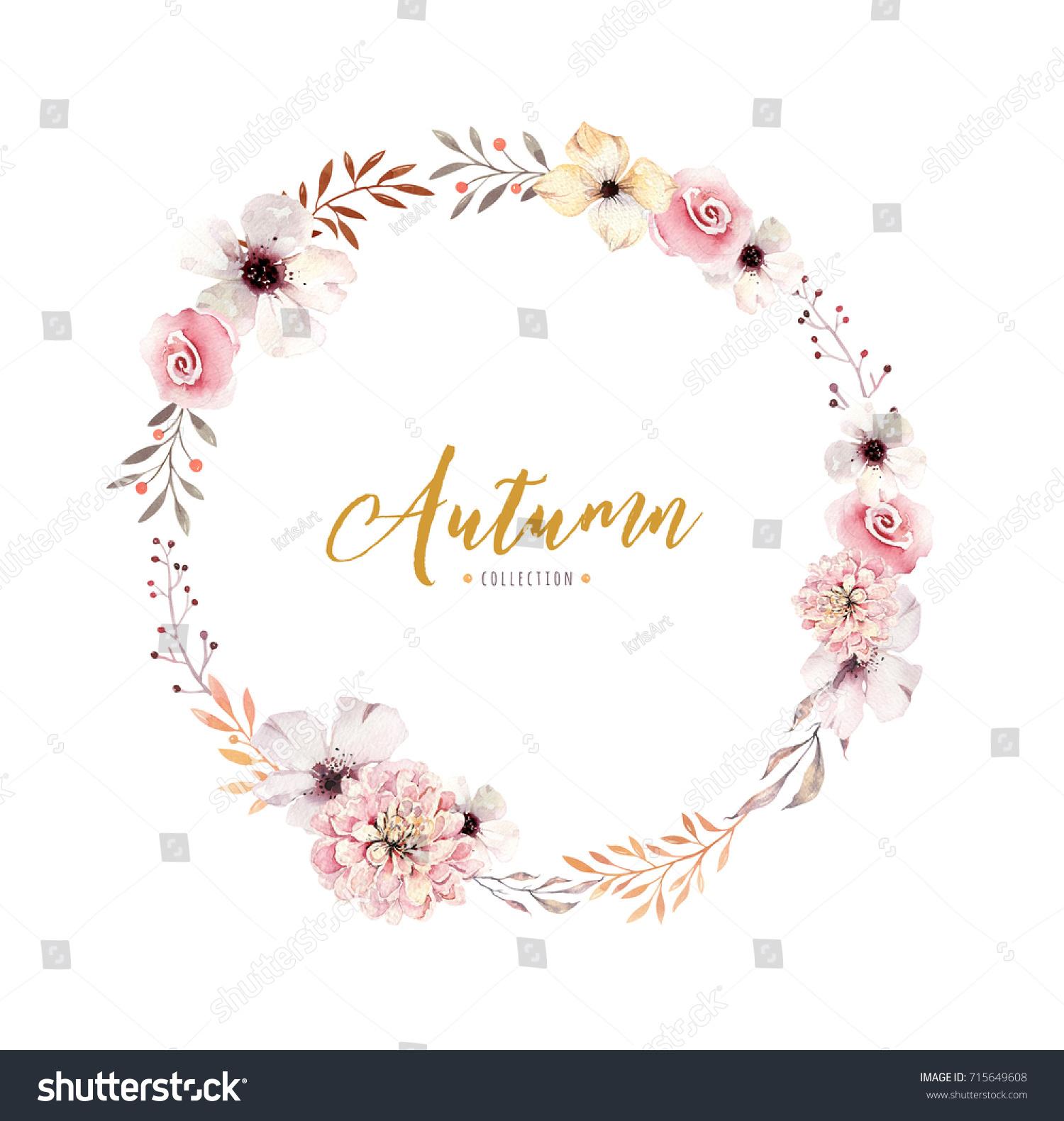 Watercolor Floral Boho Flower Wreath Watercolour Stock Illustration ...