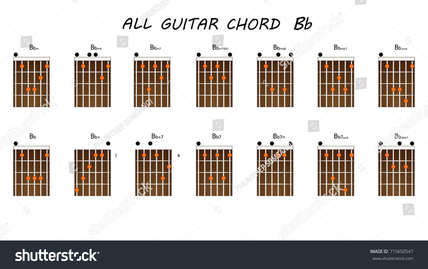 All Chords Guitar Bb Stock Vector Royalty Free 715650547