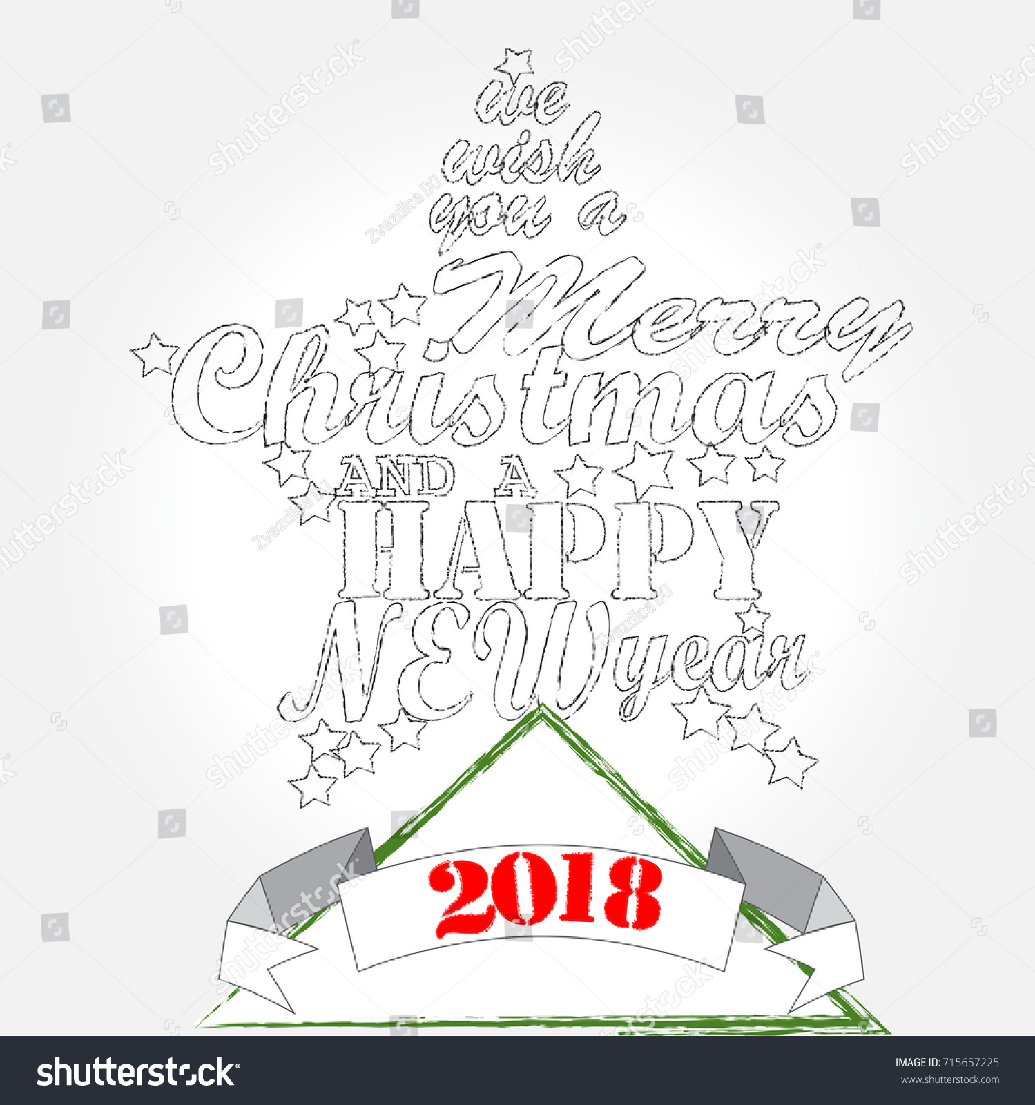 Merry Christmas Happy New Year Christmas Stock Vector Royalty Free