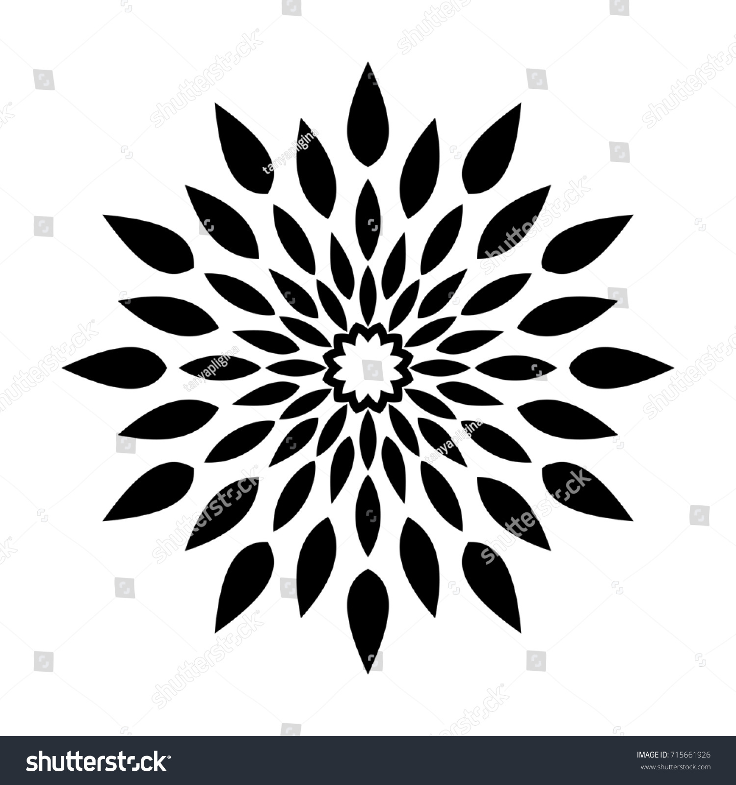 Round Pattern Stylized Leaves Template Engraving Stock Illustration ...