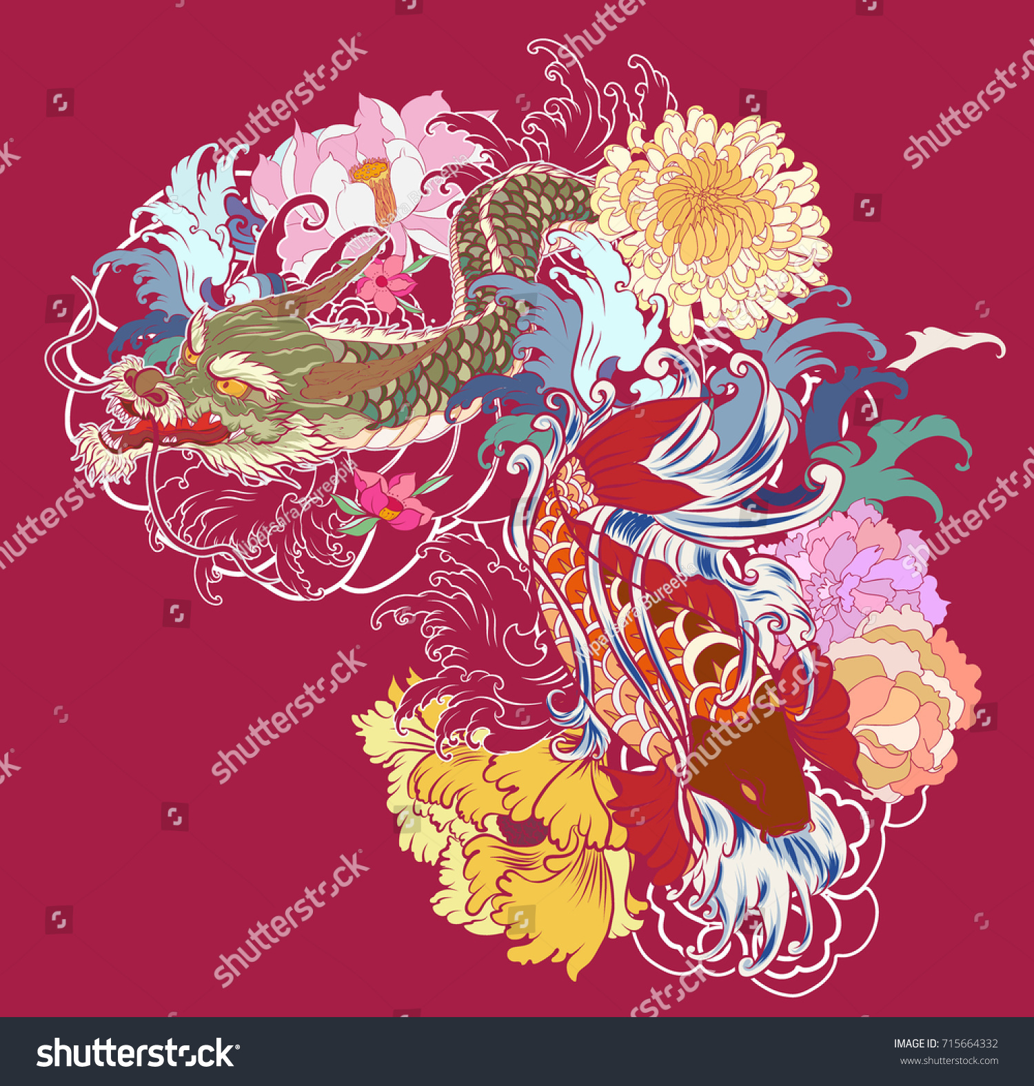 Hand Drawn Dragon Koi Fish Flower Stock Vector 715664332 - Shutterstock