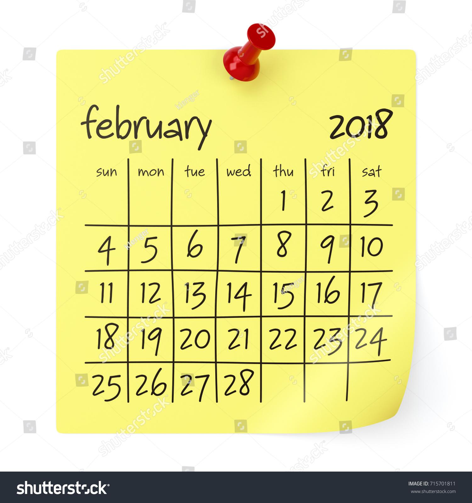 February 2018 Calendar Isolated On White Stock Illustration ...