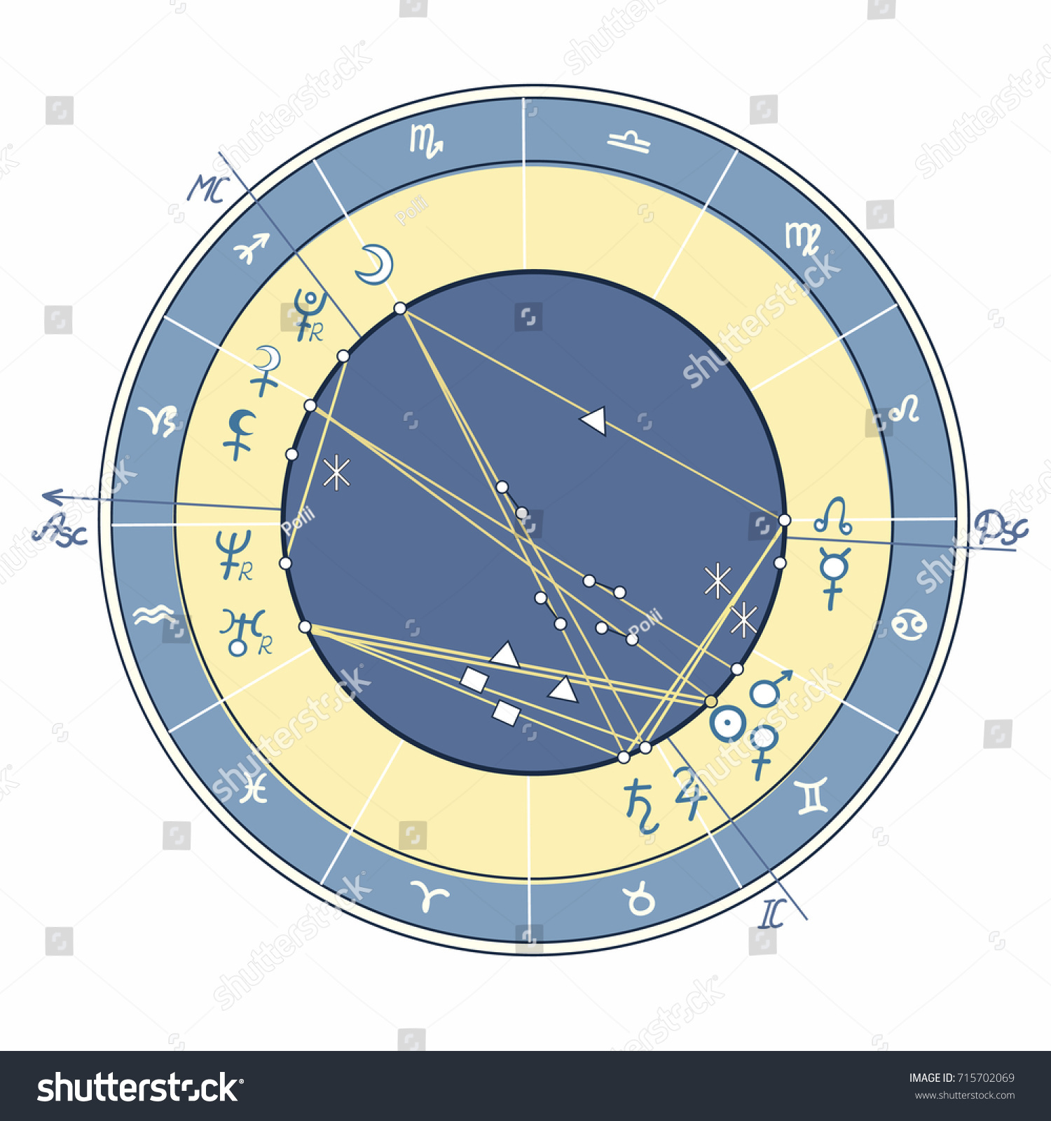 Blue natal astrological chart zodiac signs stock vector 715702069 blue natal astrological chart zodiac signs vector illustration geenschuldenfo Gallery