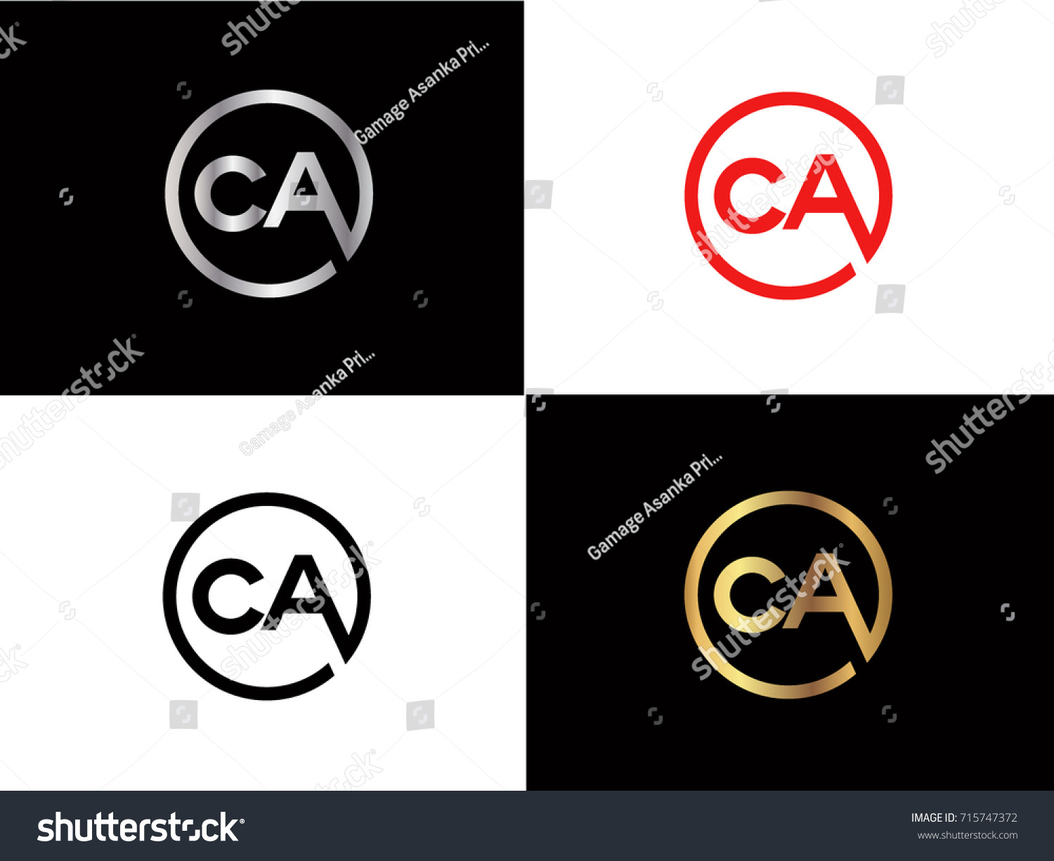 Ca Text Gold Black Silver Modern Stock Vector Royalty Free