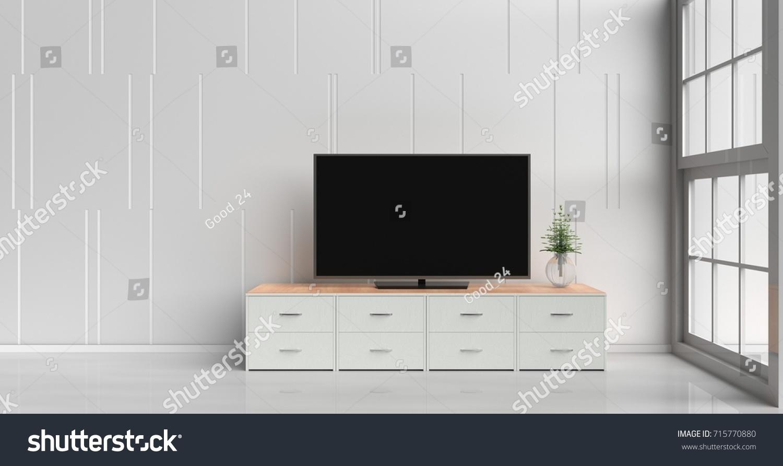 Smart Tv On Tv Stand White Stock Illustration 715770880 - Shutterstock