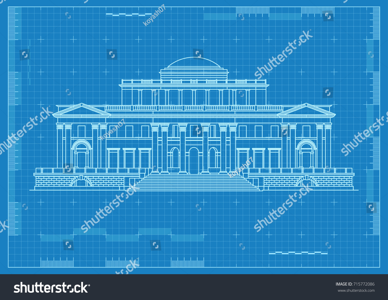 Ancient palace architectural drawing blueprint paper stock vector ancient palace architectural drawing blueprint paper malvernweather Images