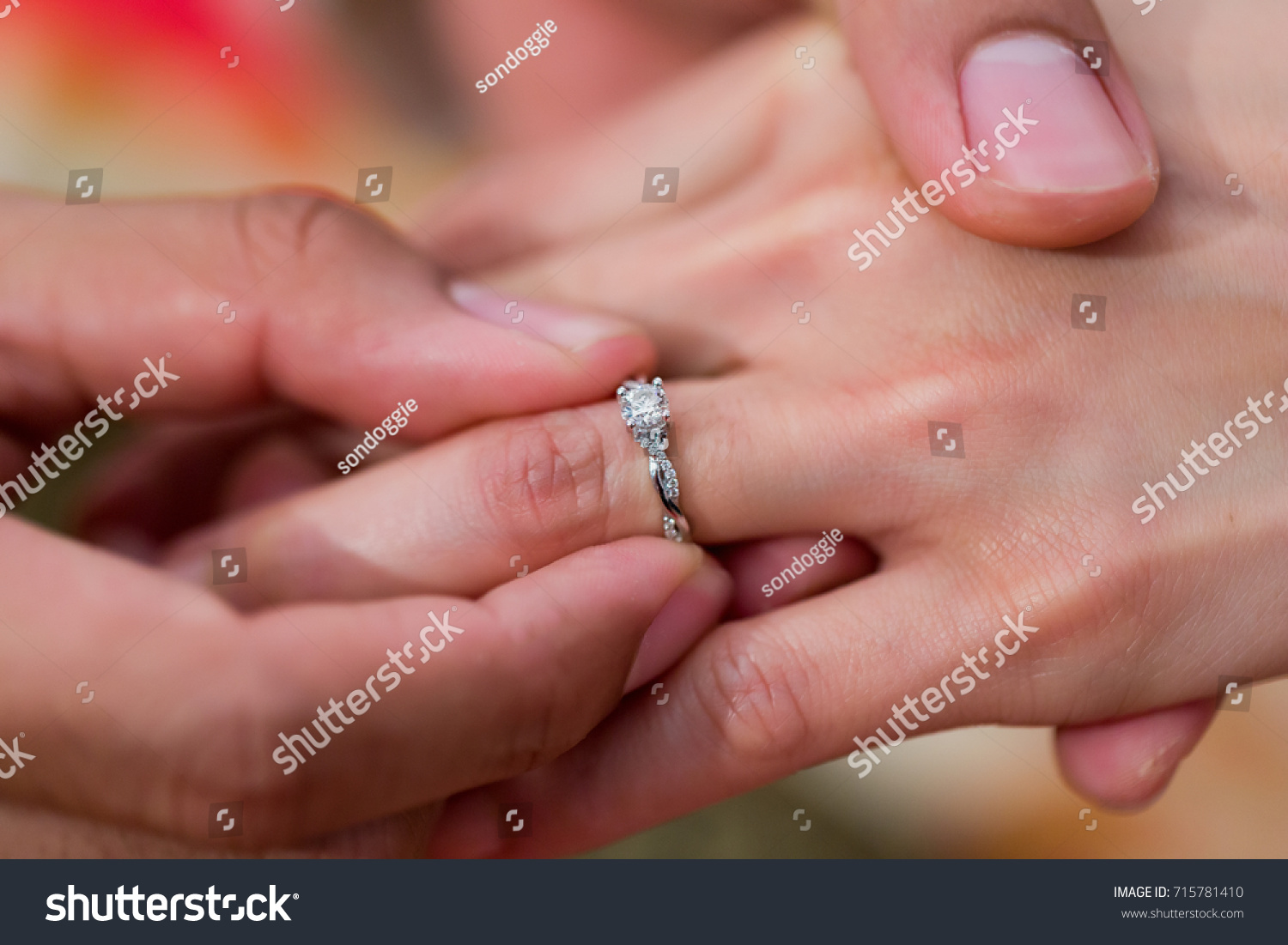 Hand Groom Wearing Wedding Ring Into Stock Photo (Royalty Free ...