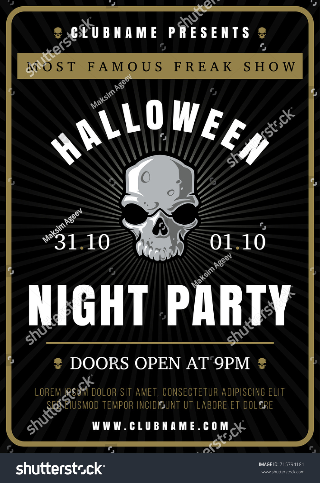 Typography Flyer | Halloween Night Party Poster Design Template Stock Vector Royalty
