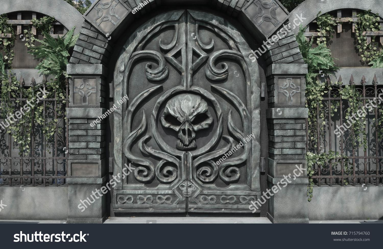 Dungeon Door Details Halloween Decoration Haunted Stock