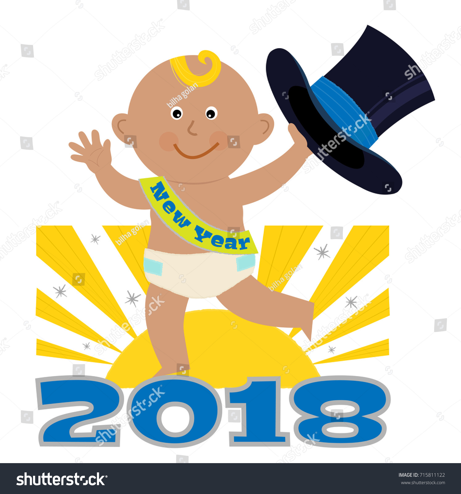 new year baby cute cartoon of a new year baby holding a top hat and