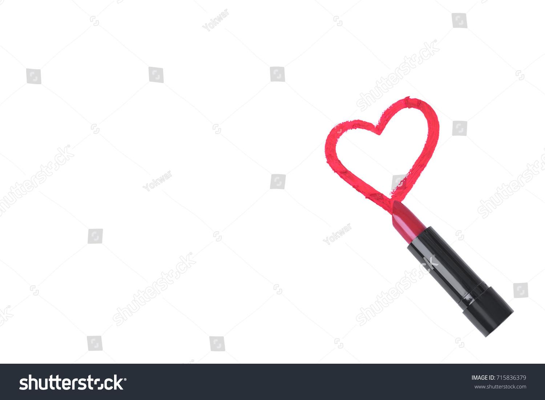 Red Lipstick Draw Heart Shape Stock Stock Photo Edit Now 715836379