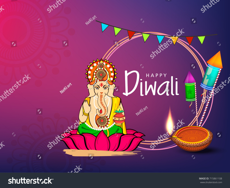 Vector Illustration Indian Lord Ganesha Sitting Stock Photo Photo
