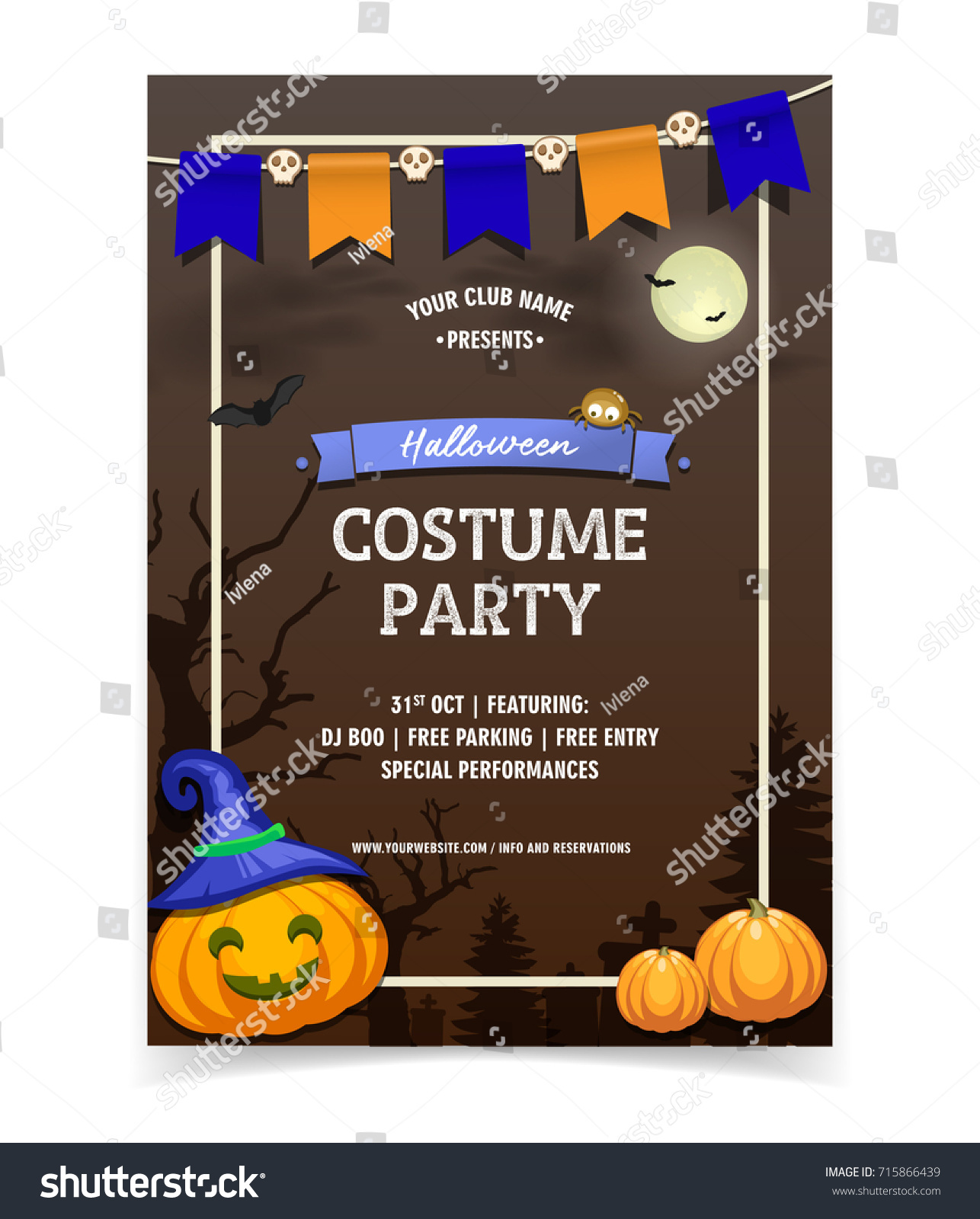 Halloween Flyer Template Costume Party Invitation Stock Vector - Party invitation template: halloween costume party flyer