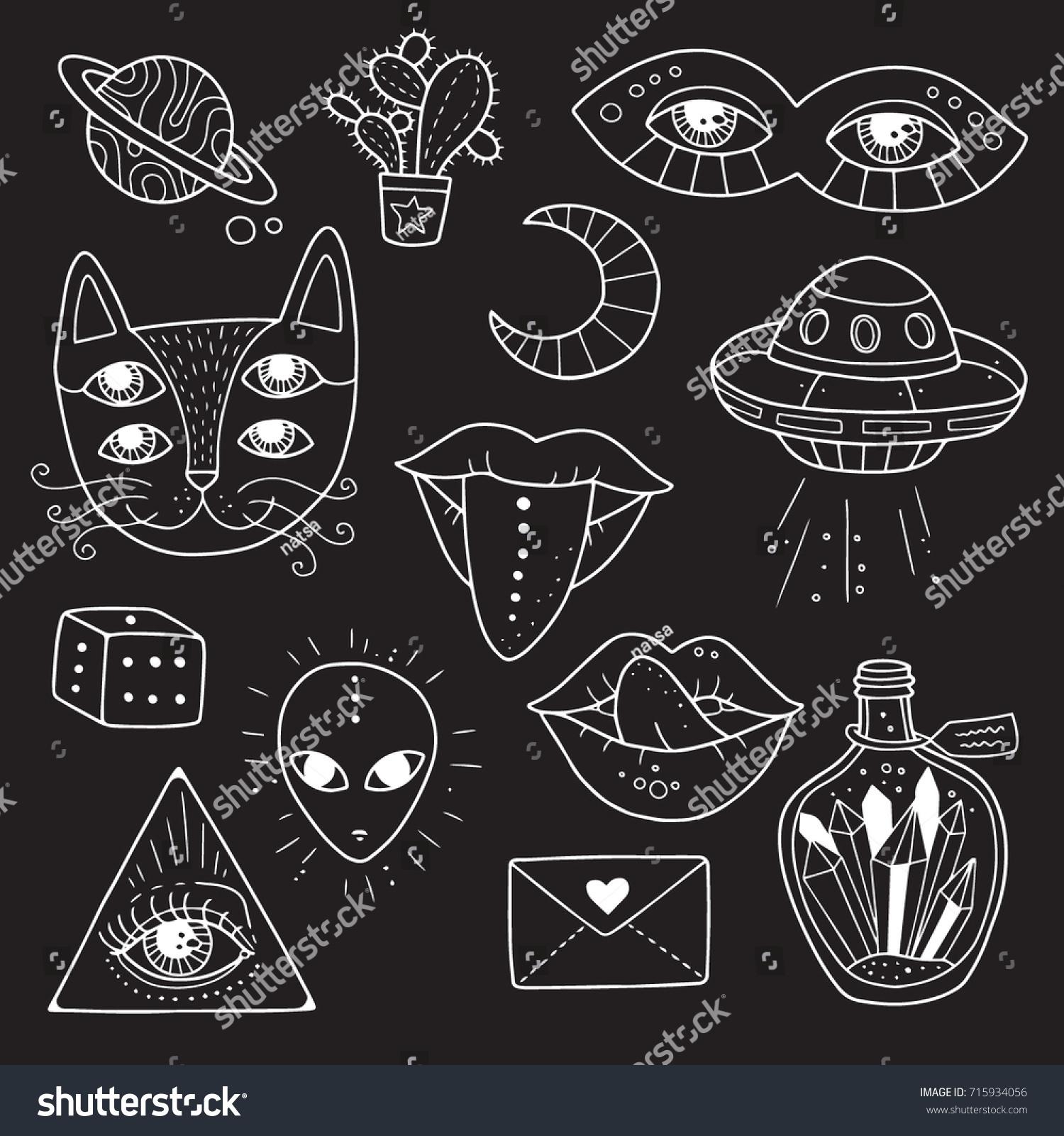 Set weird freaky alchemy symbols occult stock vector 715934056 set of weird and freaky alchemy symbols occult magic cosmos psyche biocorpaavc