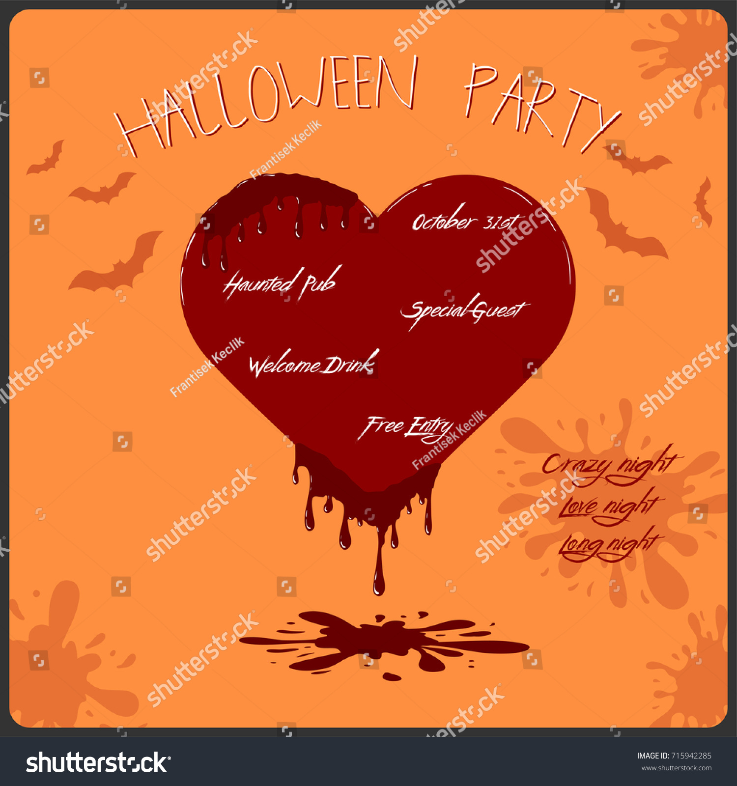 Vector Template Halloween Party Invitation Card Stock Vector ...