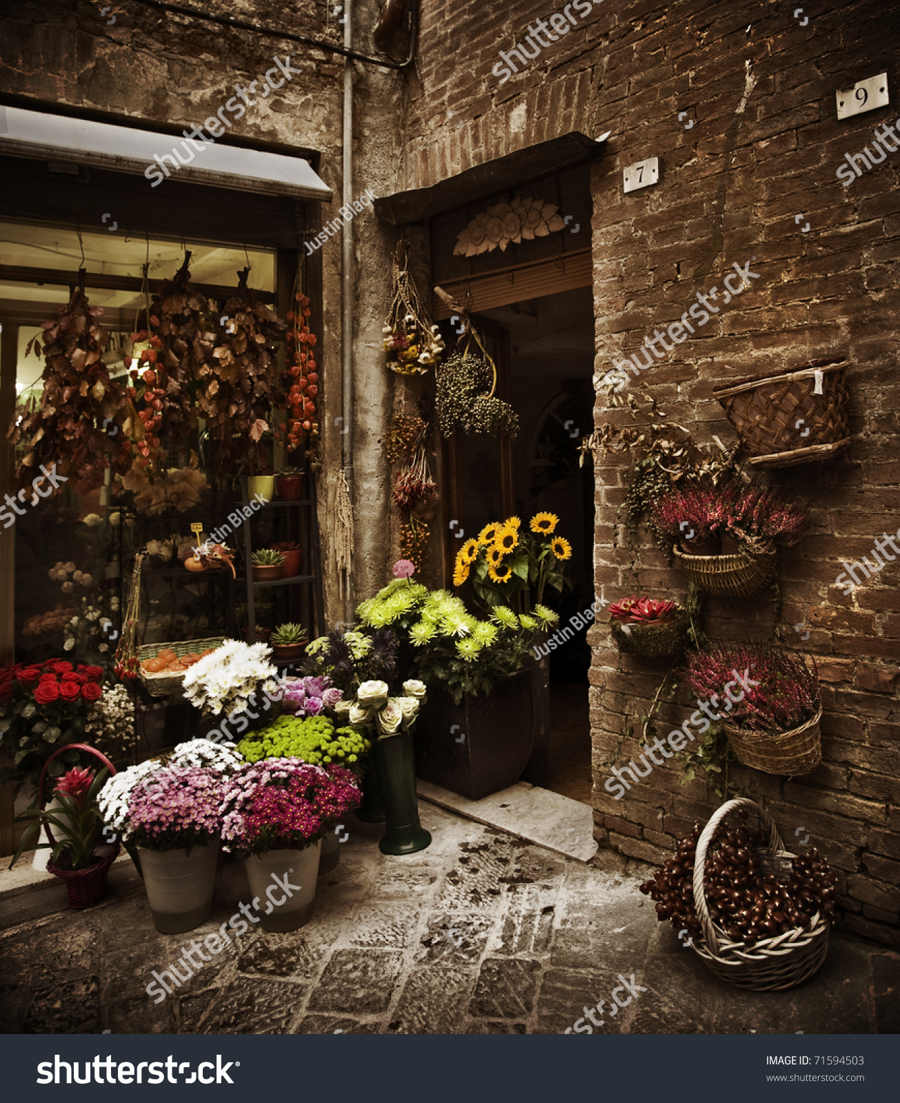 Beautiful Flower Shop Small Tuscan Town Stock Photo Edit Now