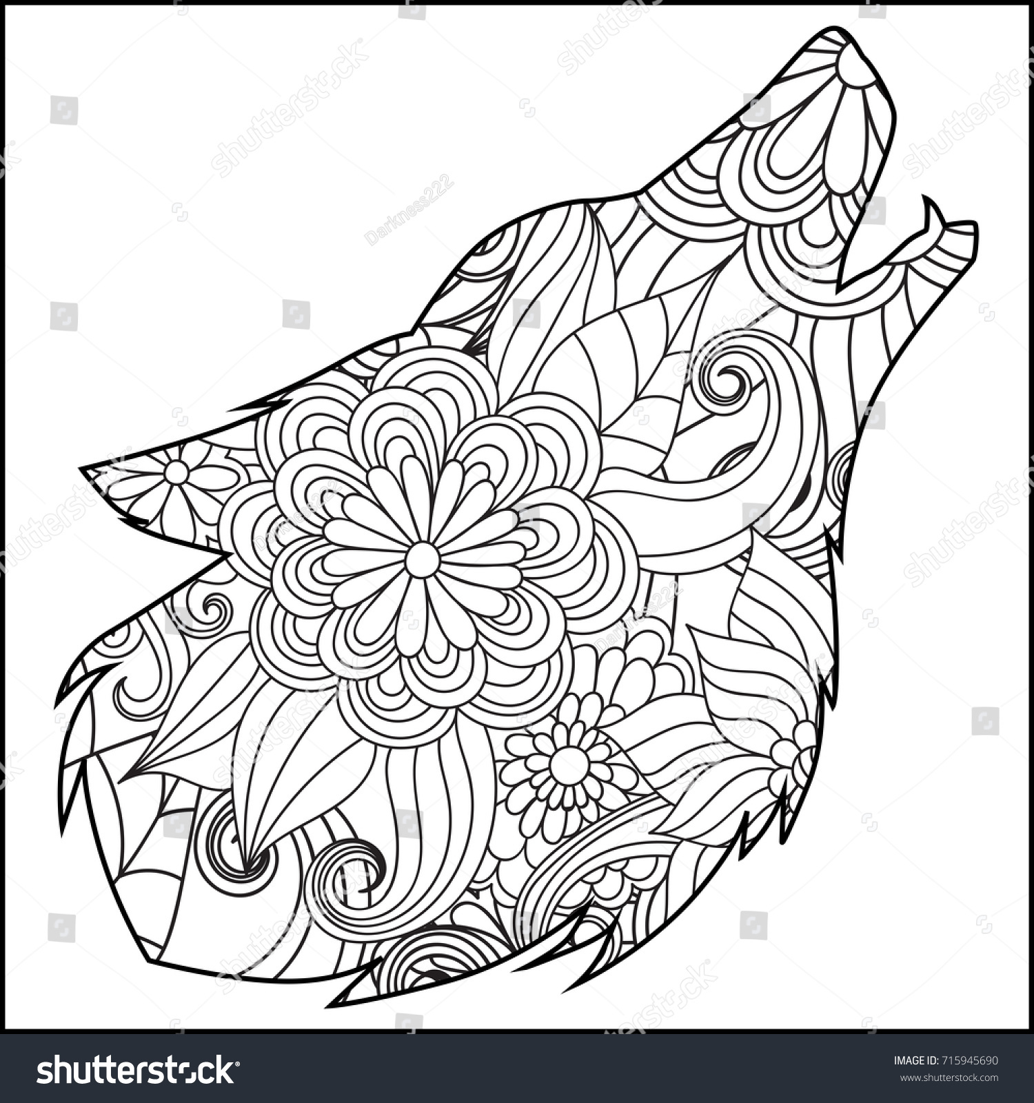 Coloring Page Flower Wolf Head Stock Vector (Royalty Free) 715945690 ...