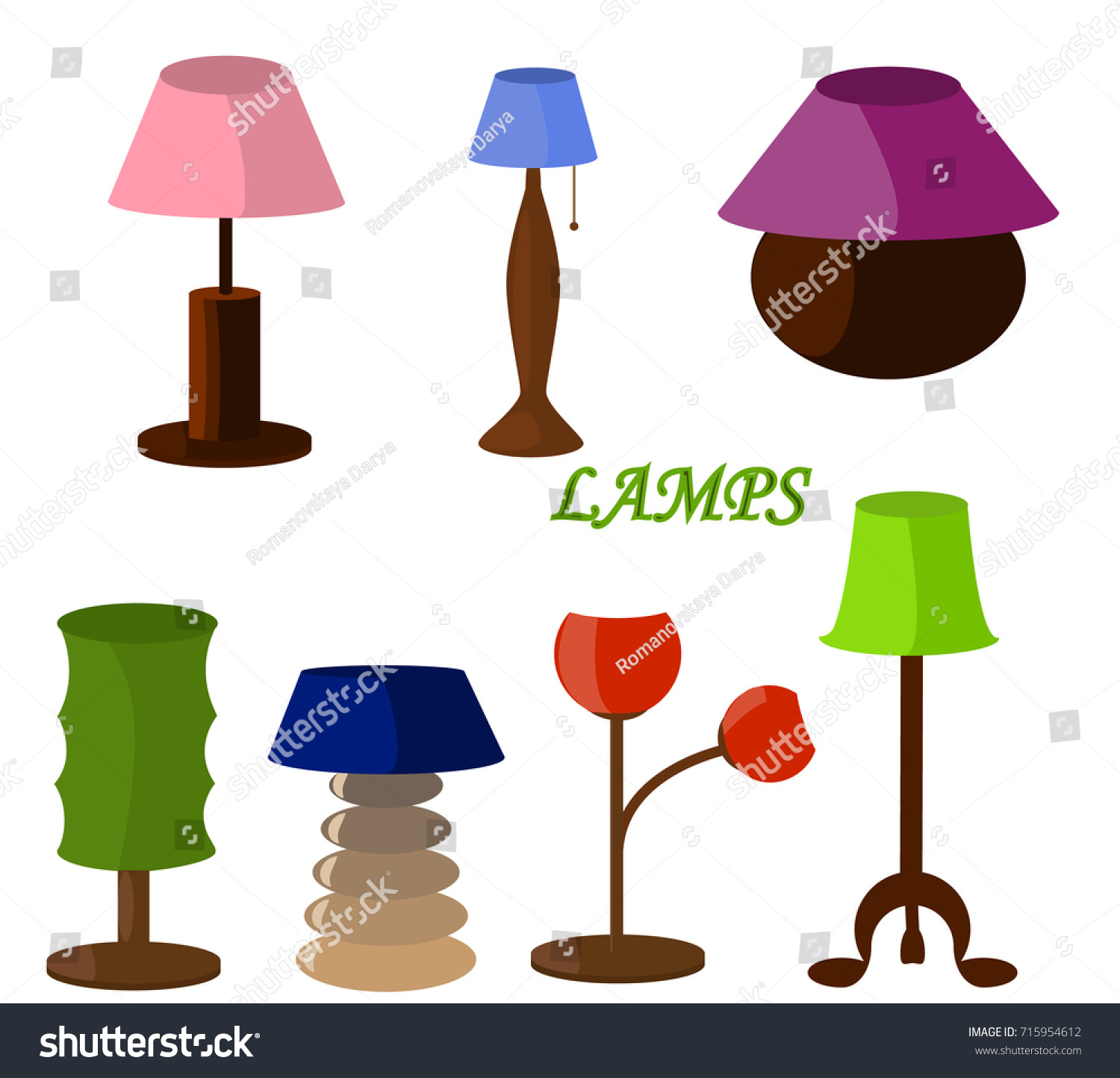 Different kinds lamps bedroom accessories stock vector 715954612 different kinds of lamps bedroom accessories arubaitofo Images