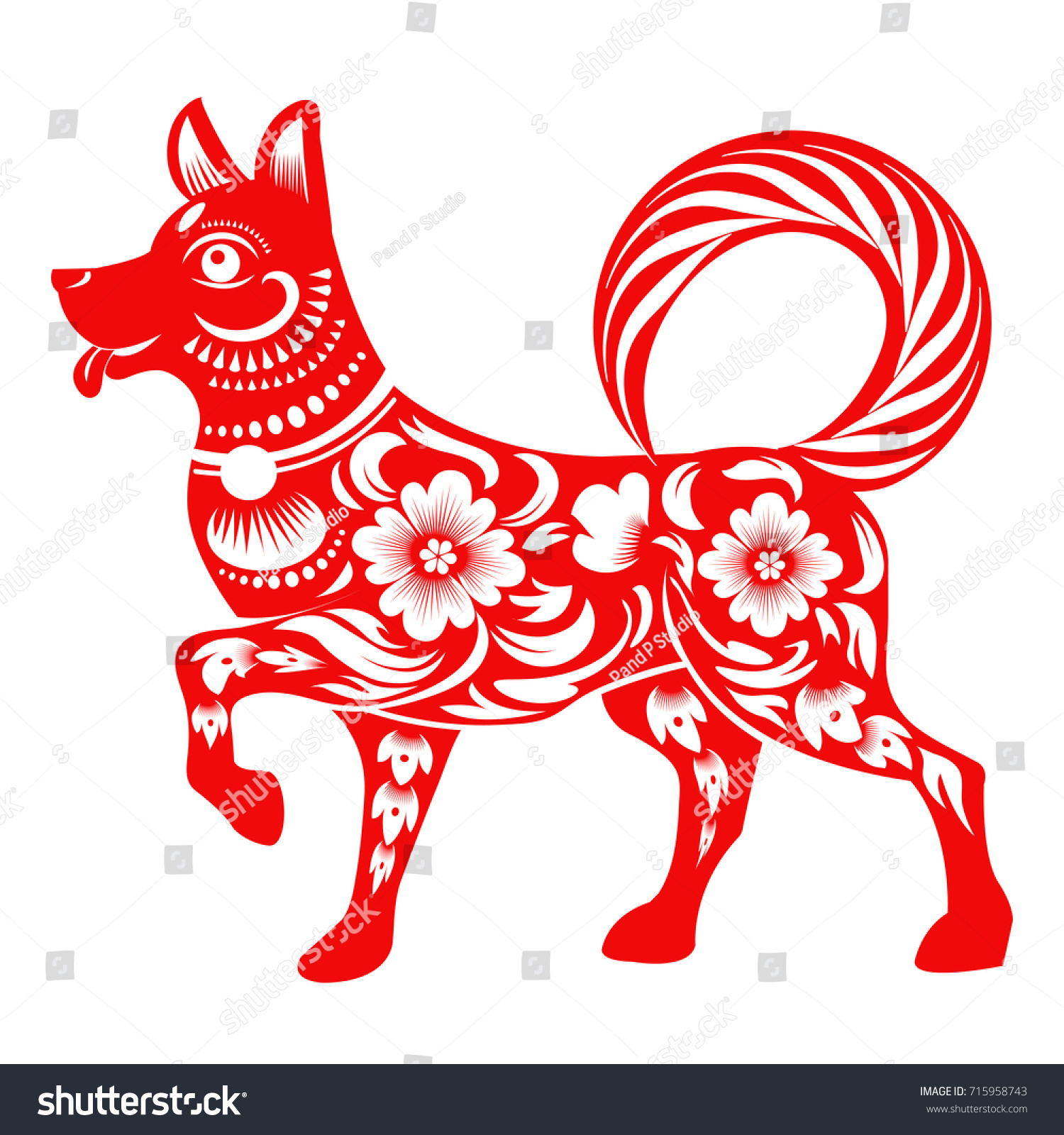 zodiac sign year dog chinese traditional stock vector 715958743 shutterstock. Black Bedroom Furniture Sets. Home Design Ideas