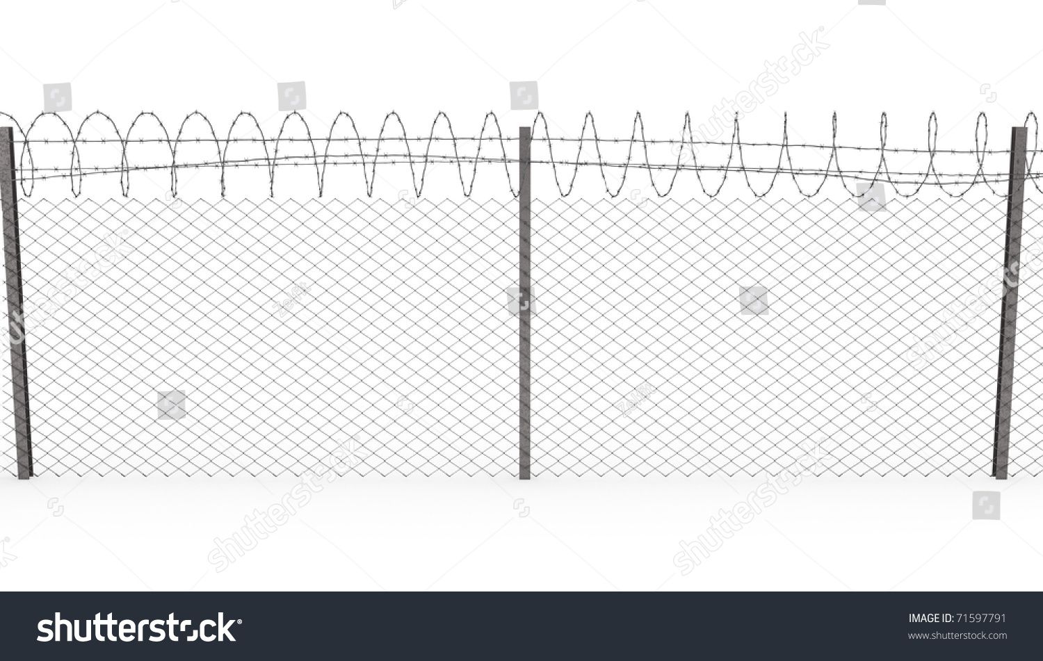 chainlink fence barbed wire on top stock illustration 71597791 diagram h bracr barbed wire chainlink fence with barbed wire on top isolated on white background, front view
