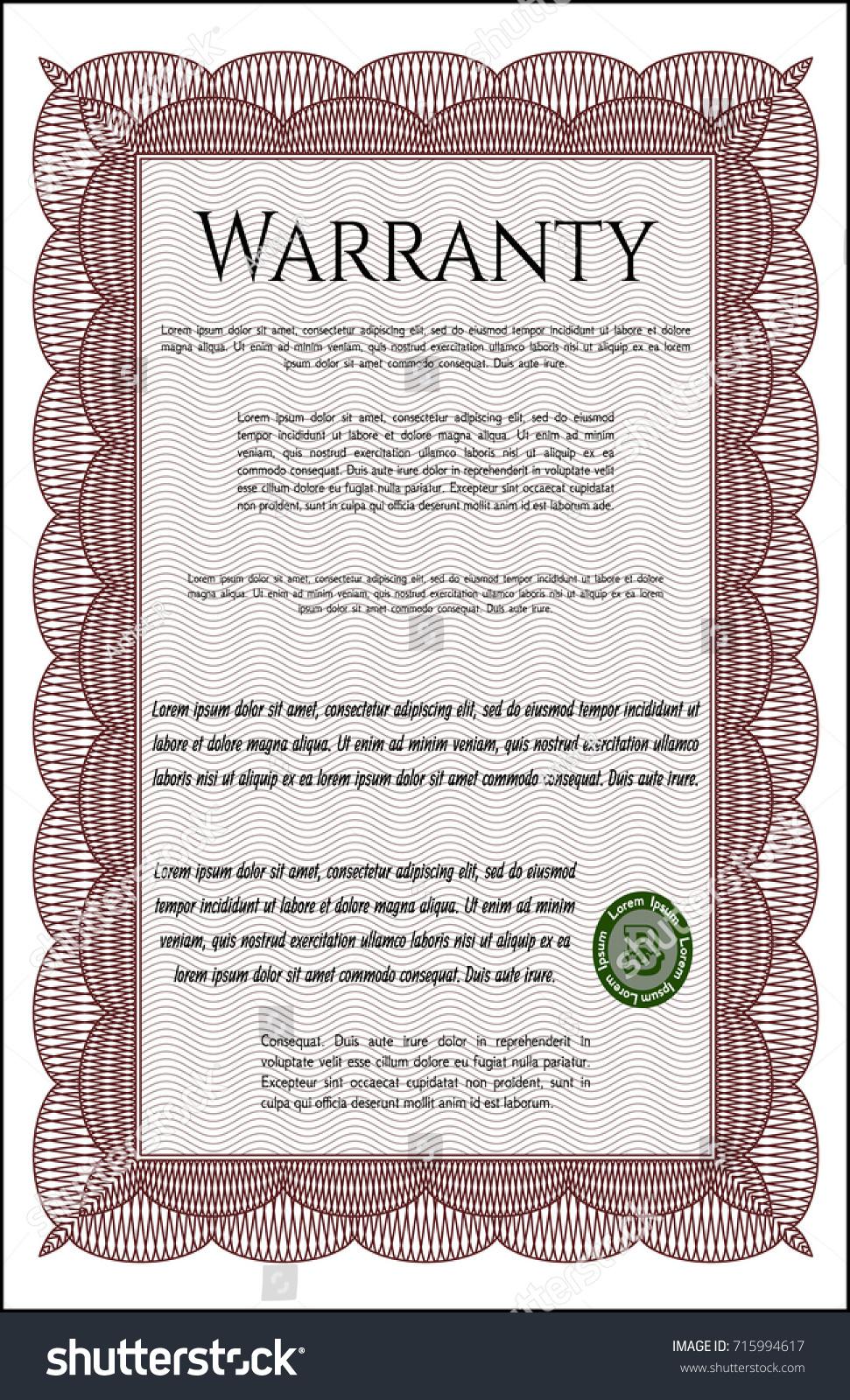 Red Warranty Certificate Template Customizable Easy Stock Vector ...