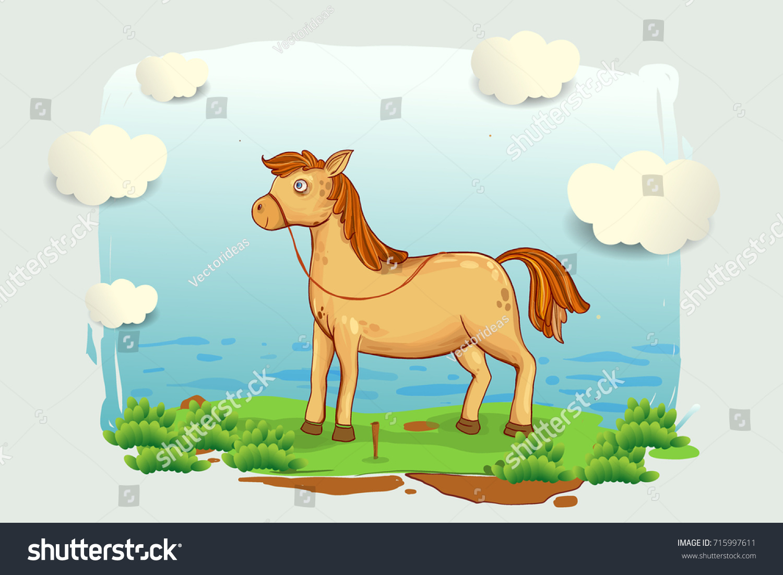 Cartoon Horse Illustration Meadow Blue Sky Stock Vector Royalty Free 715997611