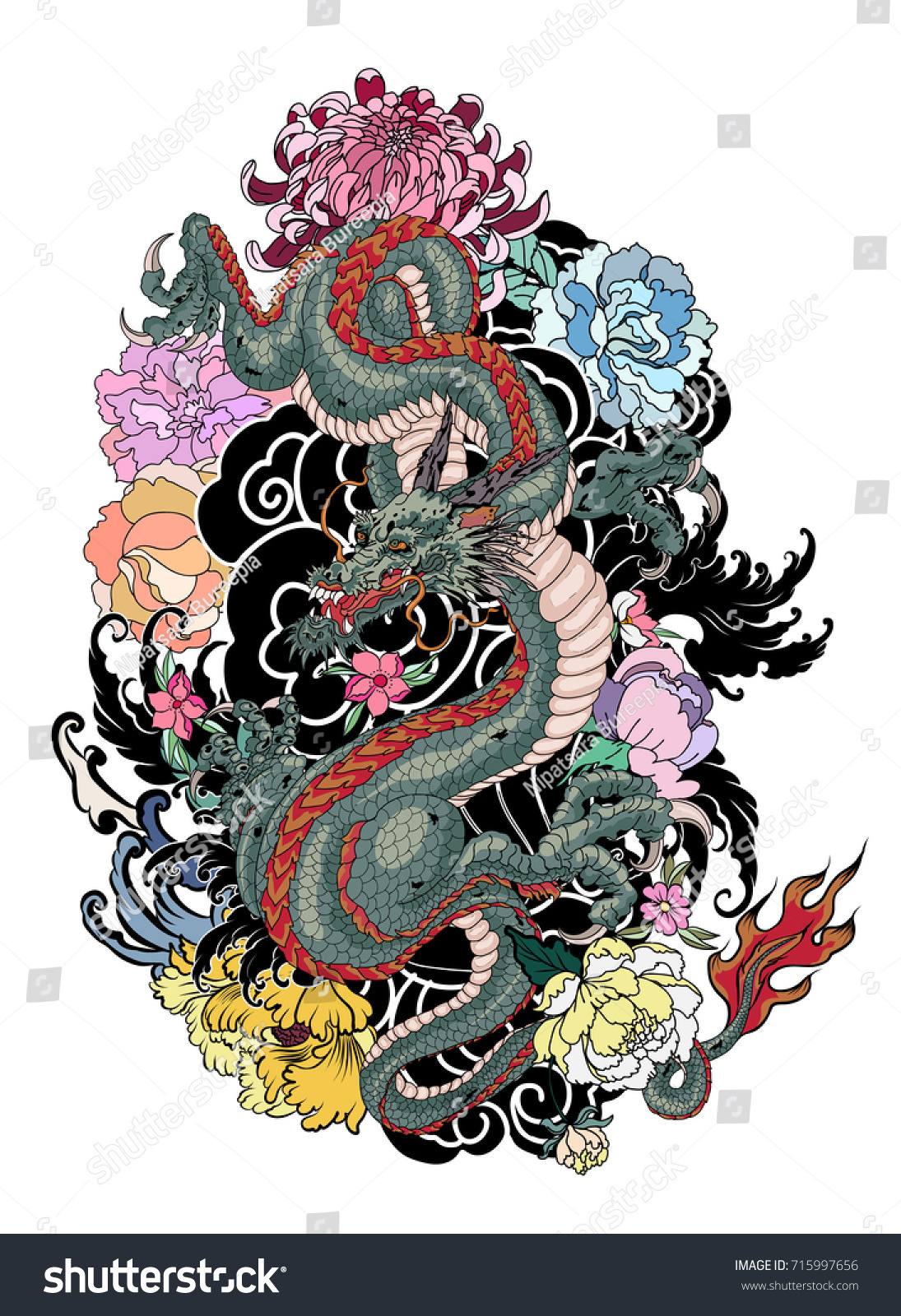 Japanese Old Dragon Tattoo For Armhand Drawn Dragon With Peony