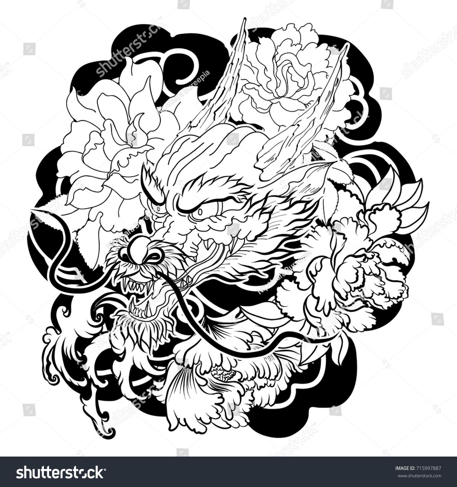 Tattoo design chinese dragon lotus sakura stock vector 2018 tattoo design chinese dragon with lotus sakura and chrysanthemum flowerjapanese art izmirmasajfo Gallery