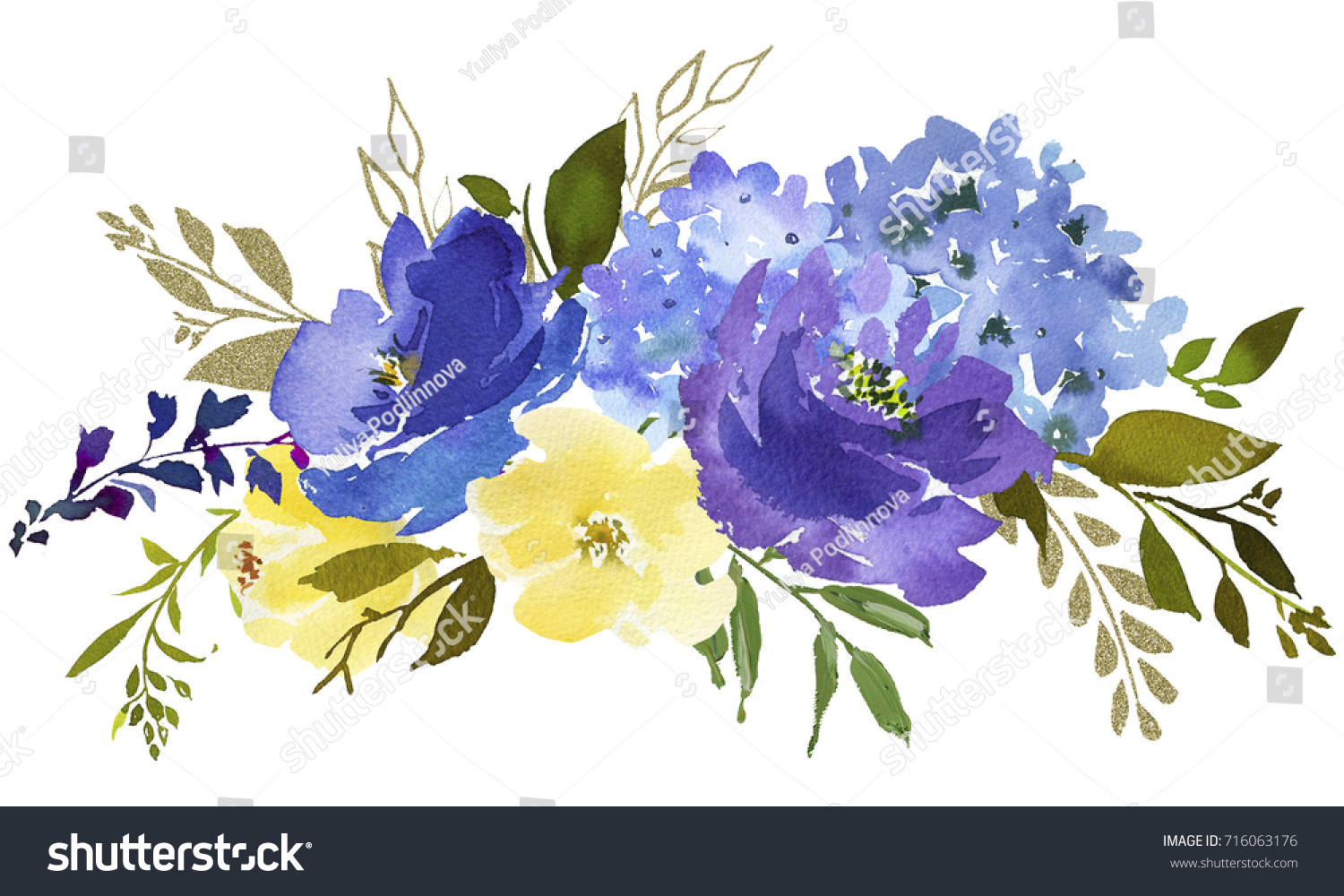 Royal Blue Violet Yellow Watercolor Floral Stock Illustration ...