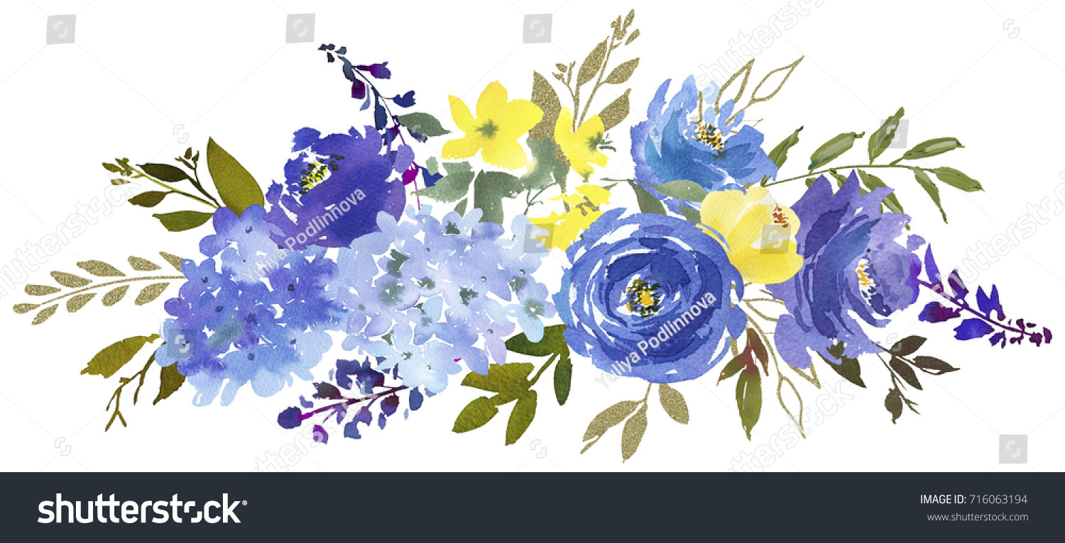 Royal Blue Violet Yellow Watercolor Floral Stock Illustration