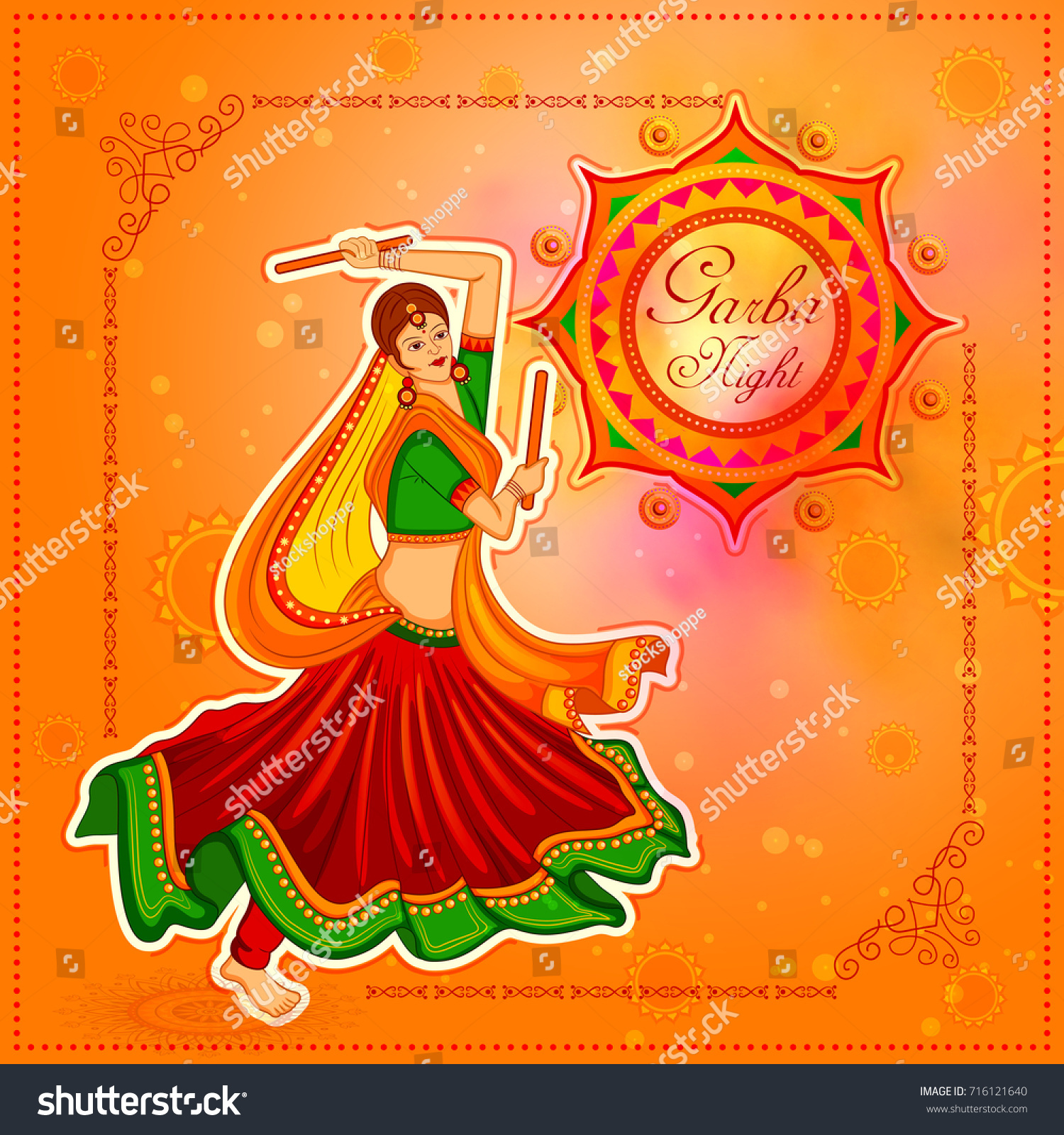 Vector Illustration People Performing Garba Dance Stock Vector Royalty Free 716121640