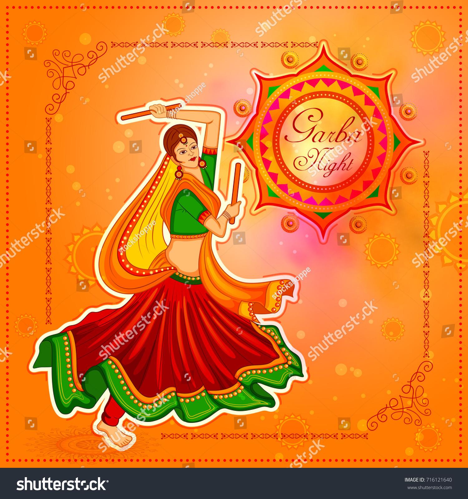 Vector Illustration People Performing Garba Dance Stock Vector Royalty Free 716121640