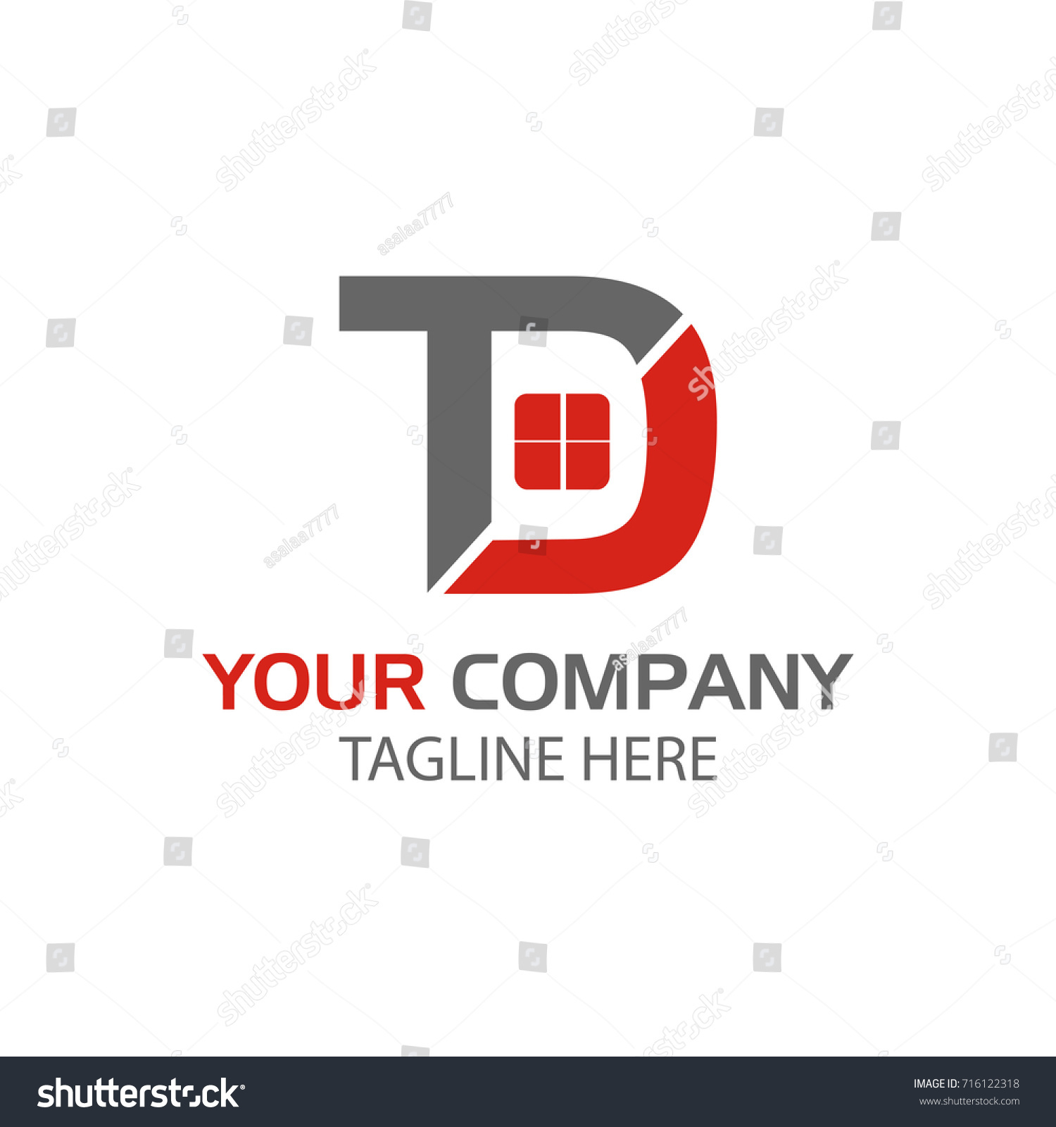 Creative Letter TD Logo Design Home Stock Vector HD (Royalty Free ...