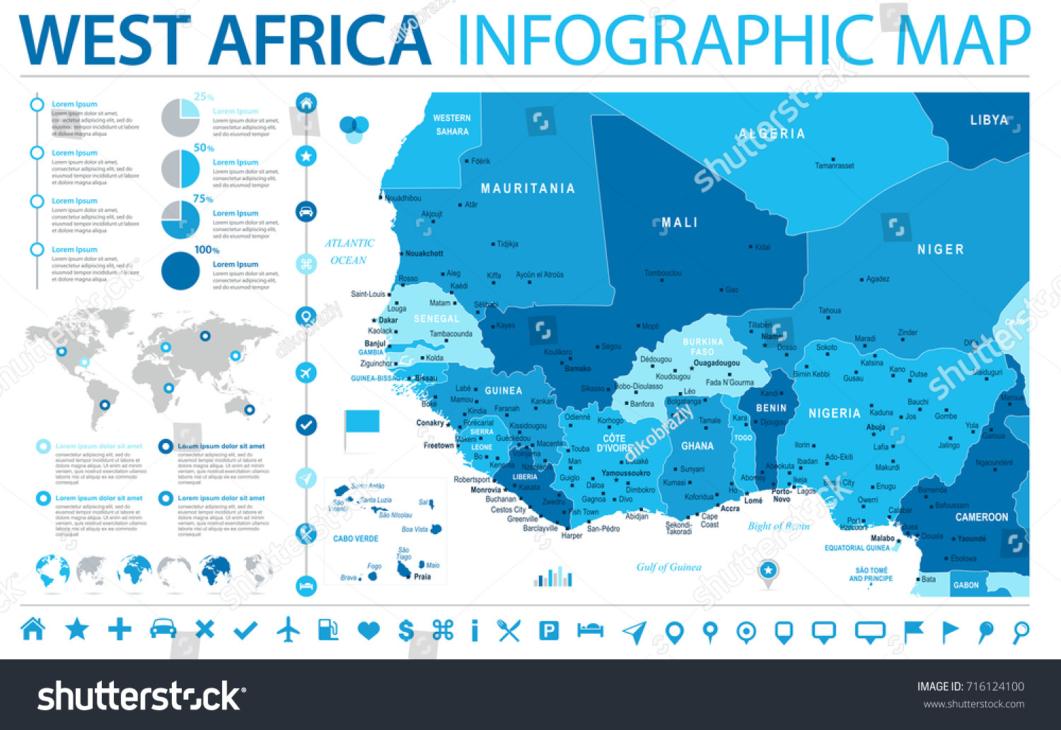West africa map detailed info graphic stock vector hd royalty free west africa map detailed info graphic vector illustration ccuart Images