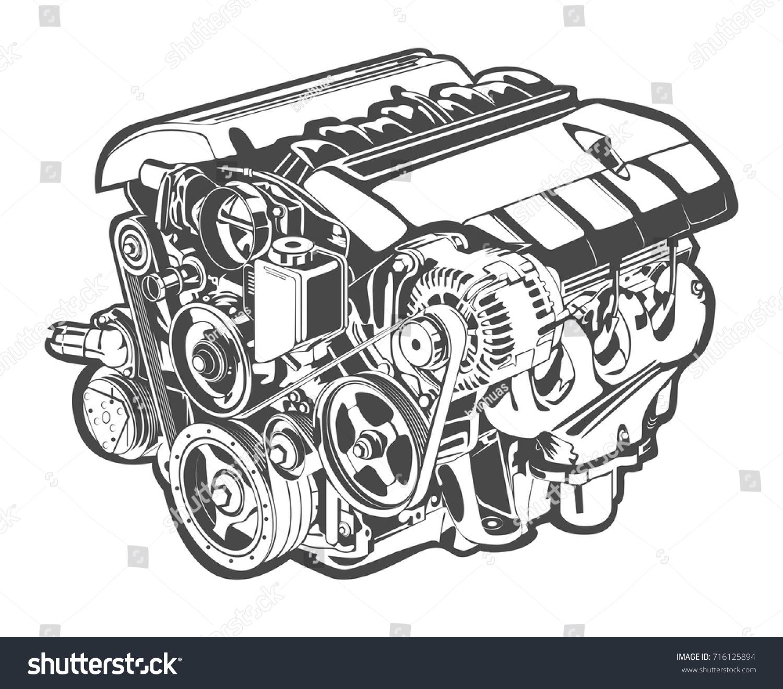 Vector Illustration Abstract Car Engine Stock Vector HD (Royalty ...