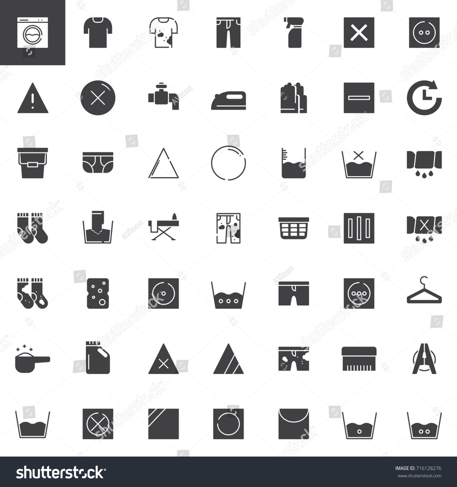 Laundry Dry Cleaning Vector Icons Set Stock Vector Royalty Free