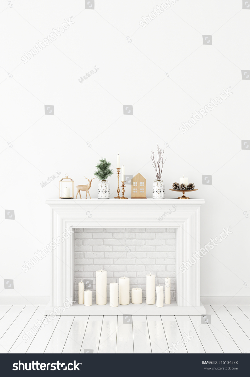 winter livingroom interior candle fireplace christmas stock