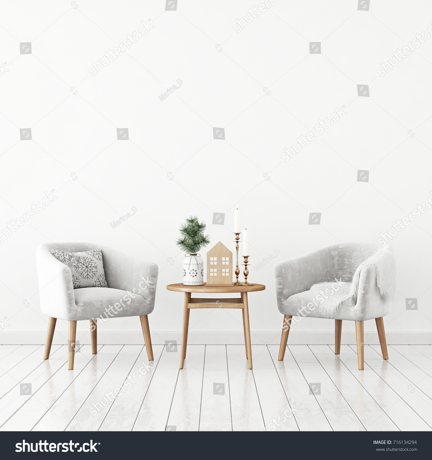 Winter Livingroom Interior Pair Velvet Armchairs Stock