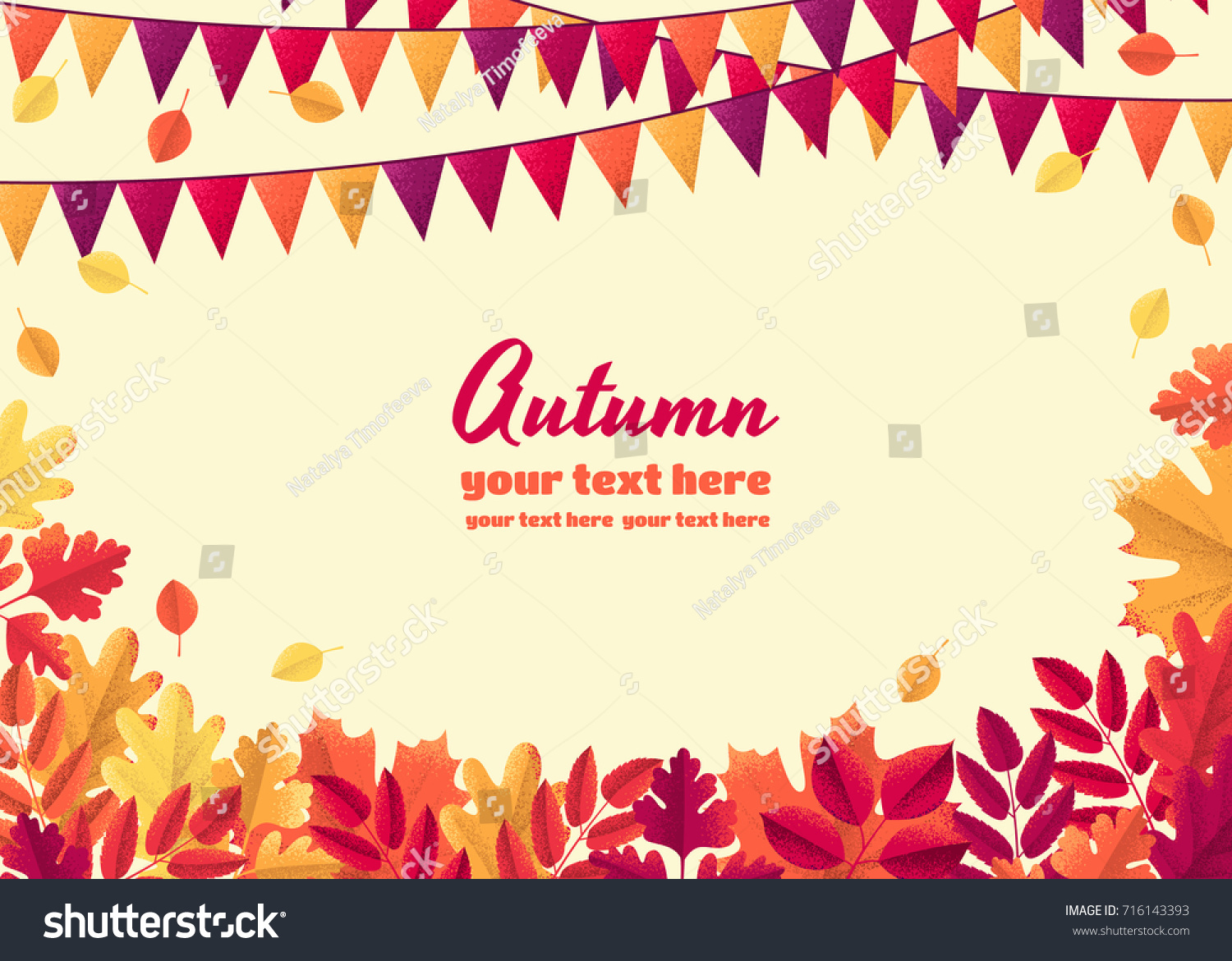 horizontal template colorful autumn leaves triangular stock vector