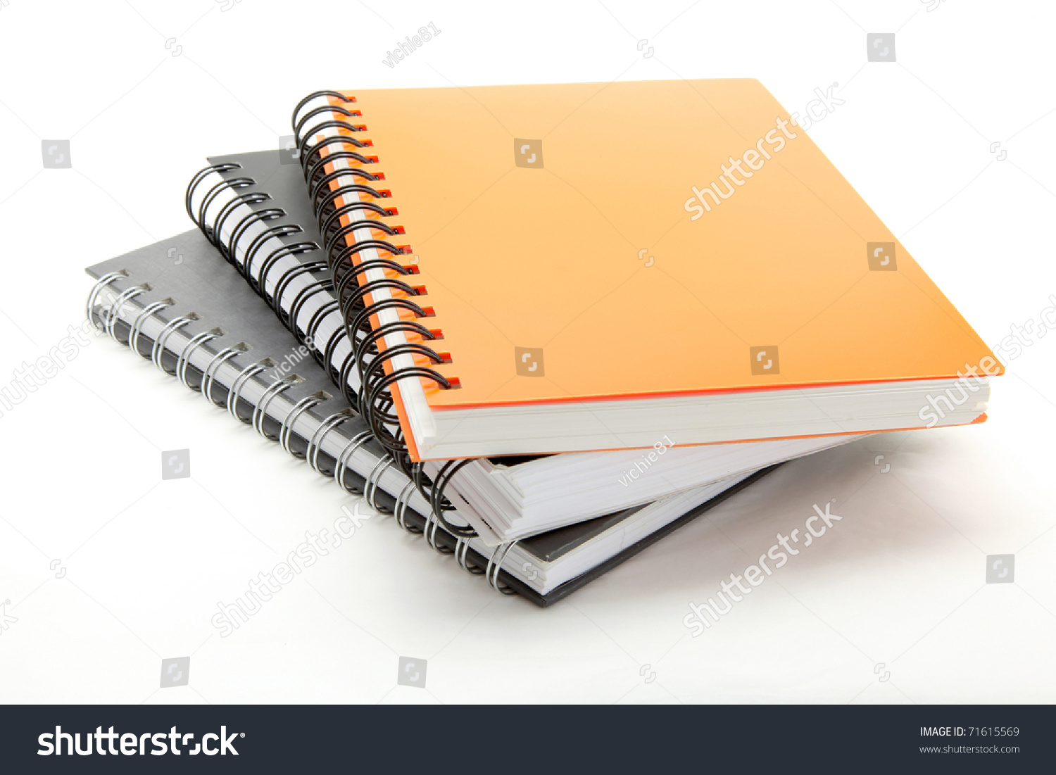 stack ring binder book notebook isolated stock photo