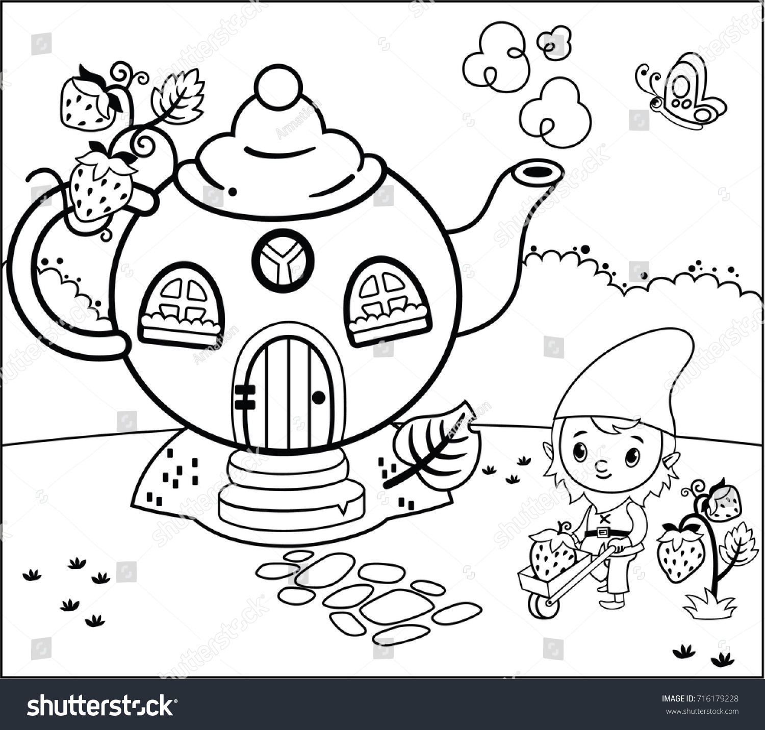 coloring page activity gnome children vector stock vector