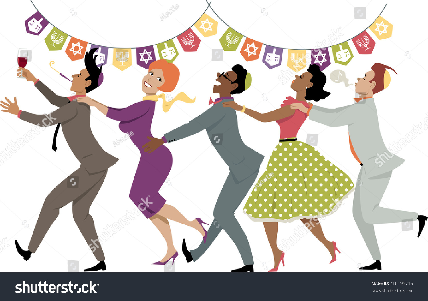Diverse Group Friends Dancing Conga Line Stock Vector Royalty Free 716195719