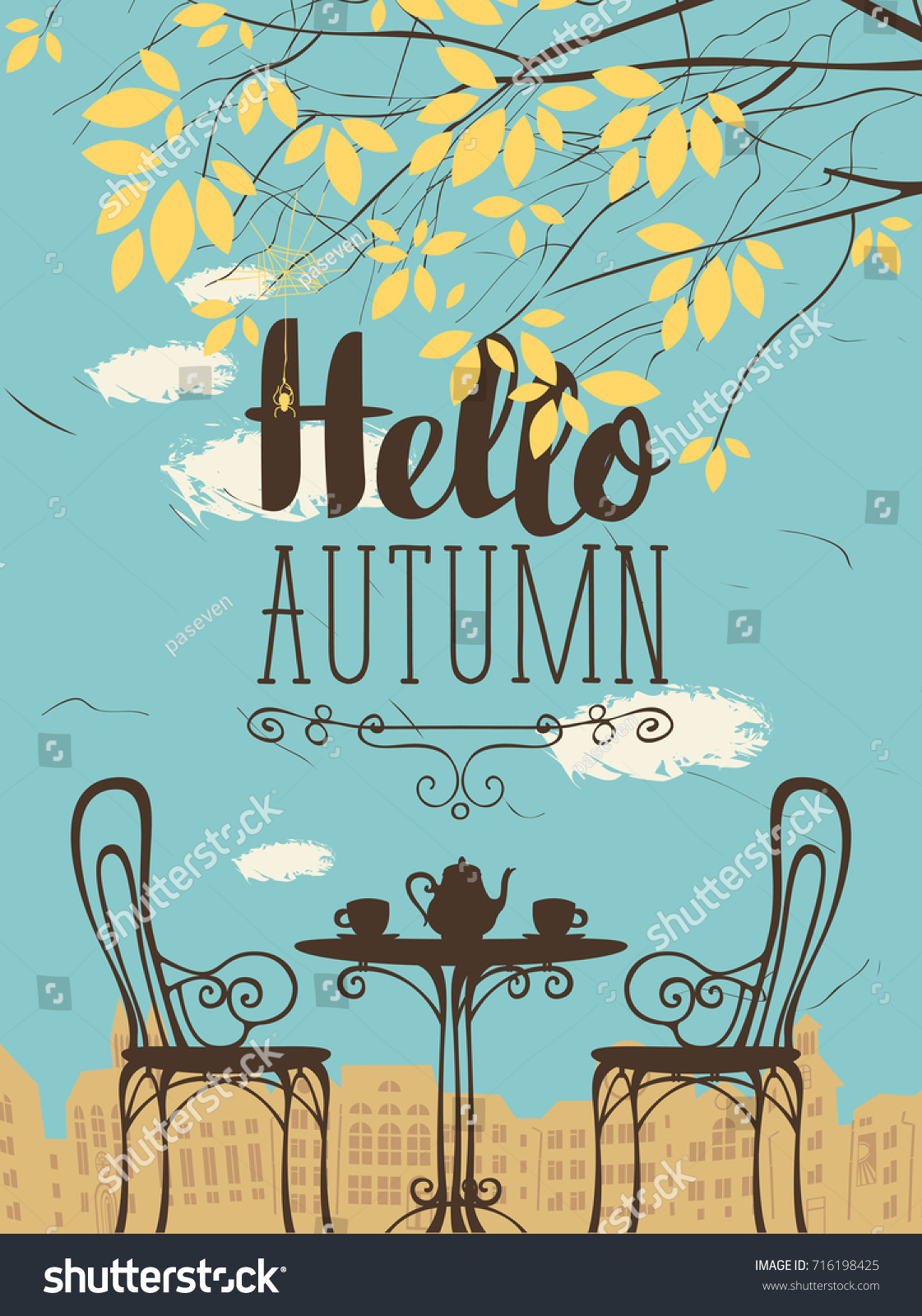 Vector Landscape In Retro Style On The Autumn Theme With The Words Hello  Autumn, Furnished