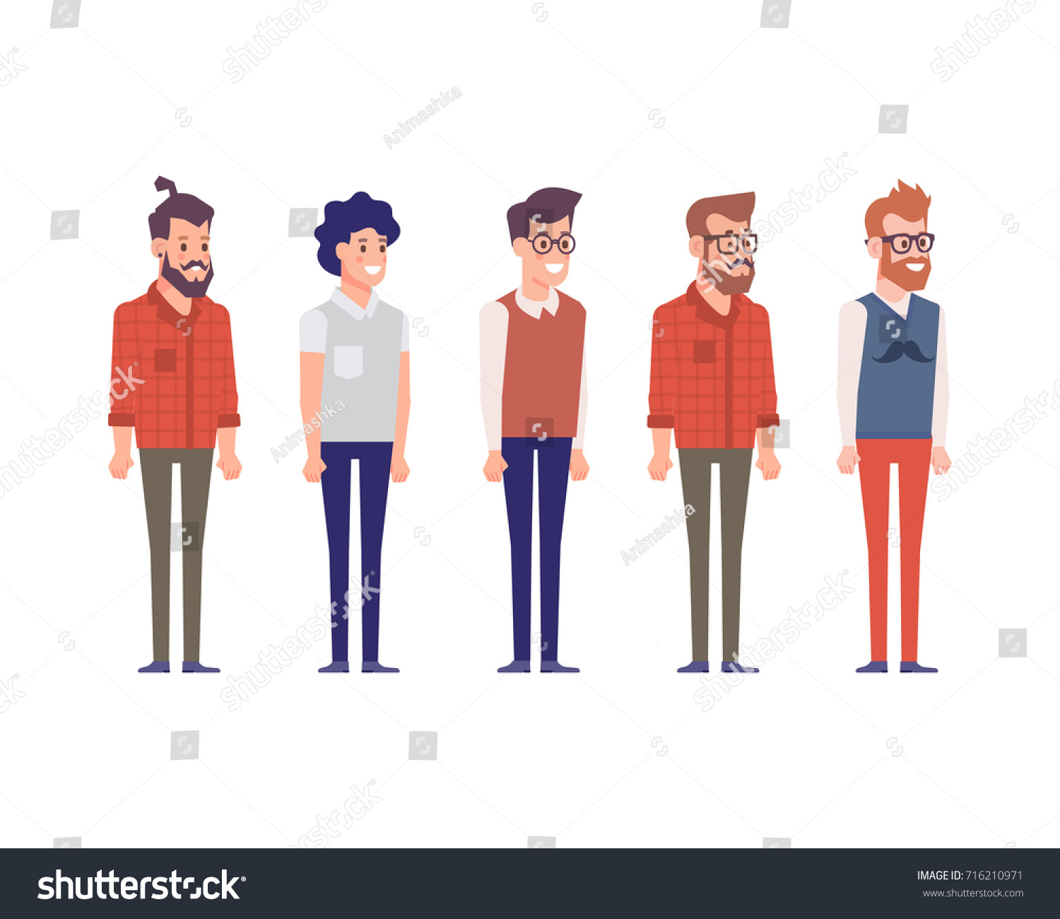 34 view characters separate part male stock vector royalty free