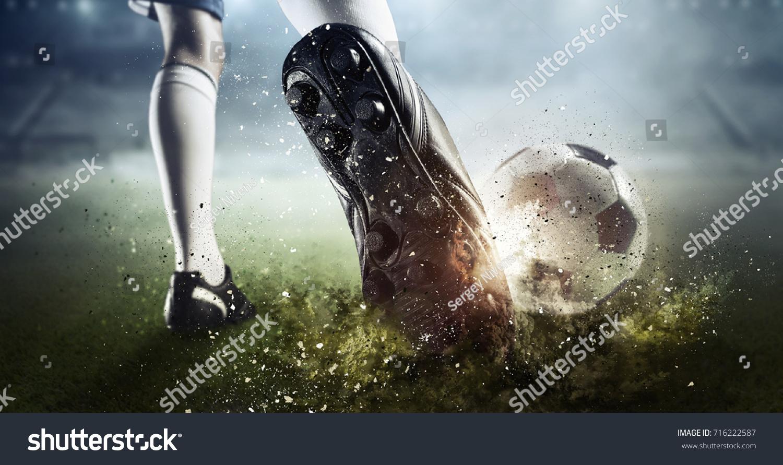 Soccer goal moment. Mixed media #716222587
