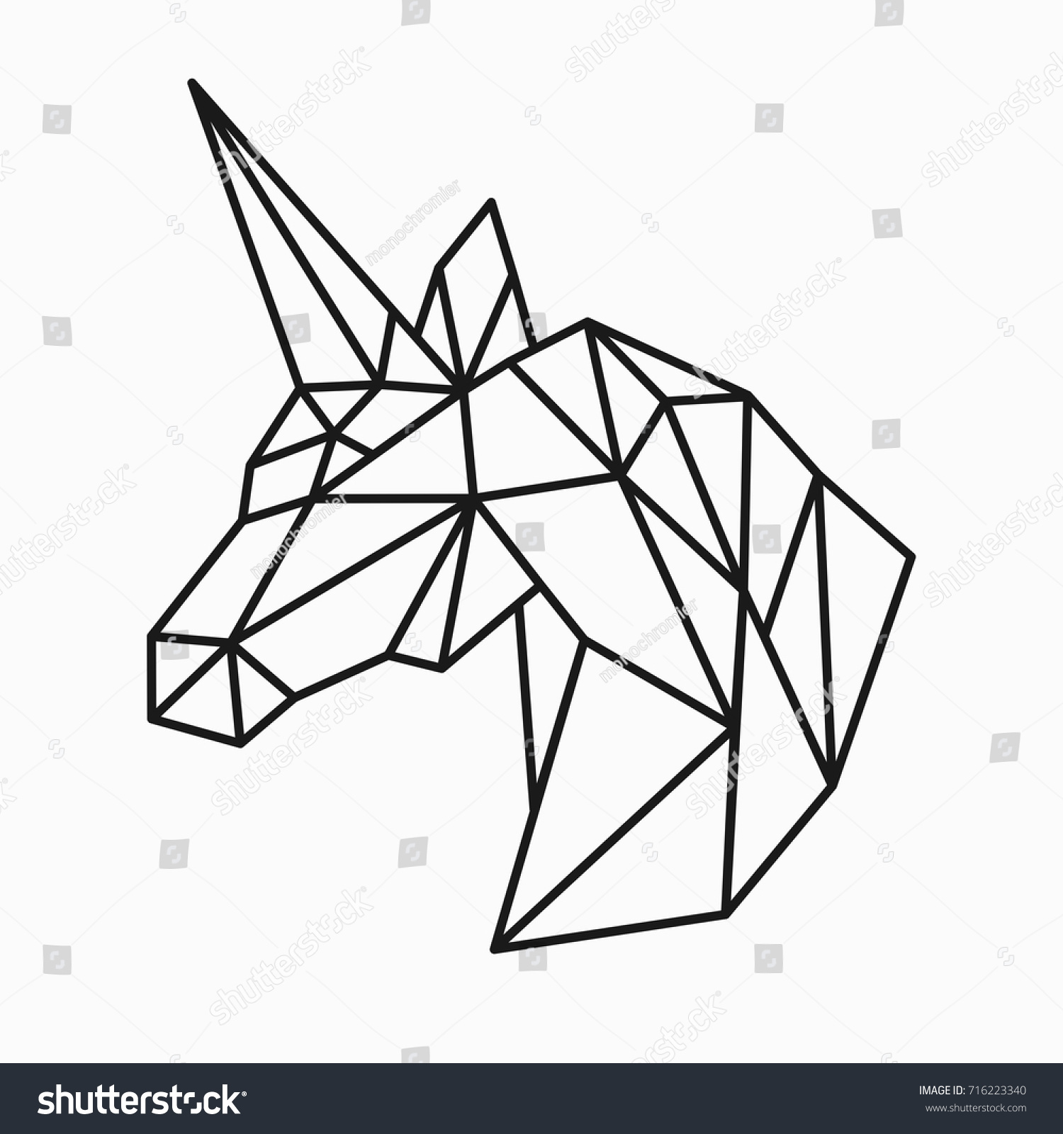 Origami Unicorn Diagram Free Wiring Diagrams Sword Http Wwworigamiguidecom Origamiwolfhtml Vector Polygonal Triangular Illustration Animal Head Stock Easy Animals Step By